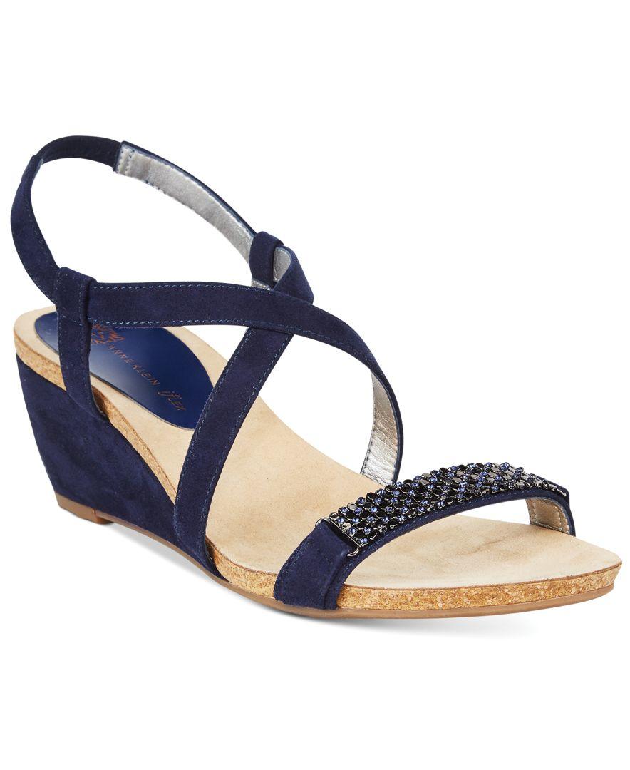 f49d57b71530a Anne Klein Jasia Wedge Sandals in Blue - Lyst