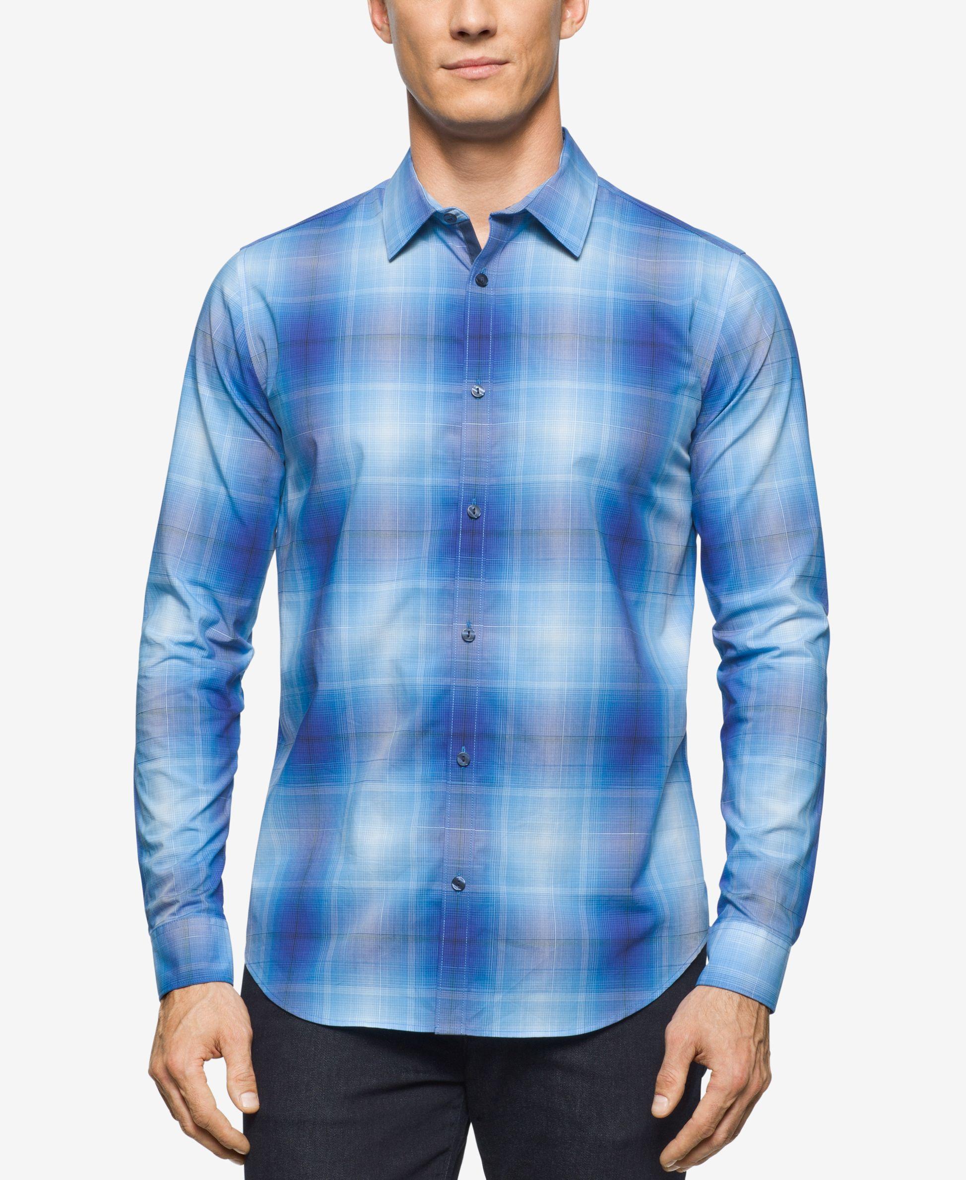Calvin Klein Men 39 S Plaid Roll Tab Long Sleeve Shirt In