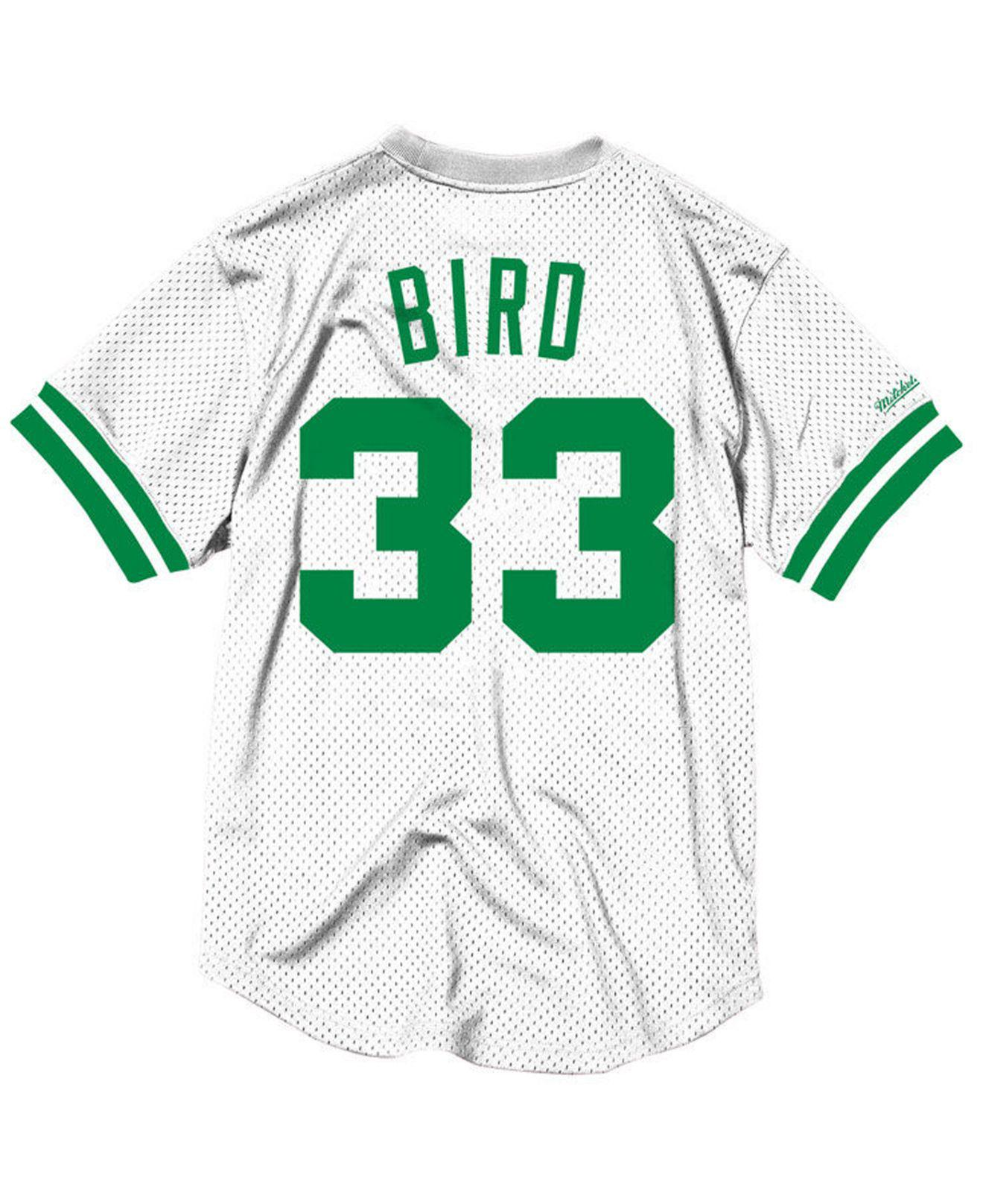 b3772485562 Mitchell & Ness Larry Bird Boston Celtics Name And Number Mesh Crewneck  Jersey in White for Men - Lyst