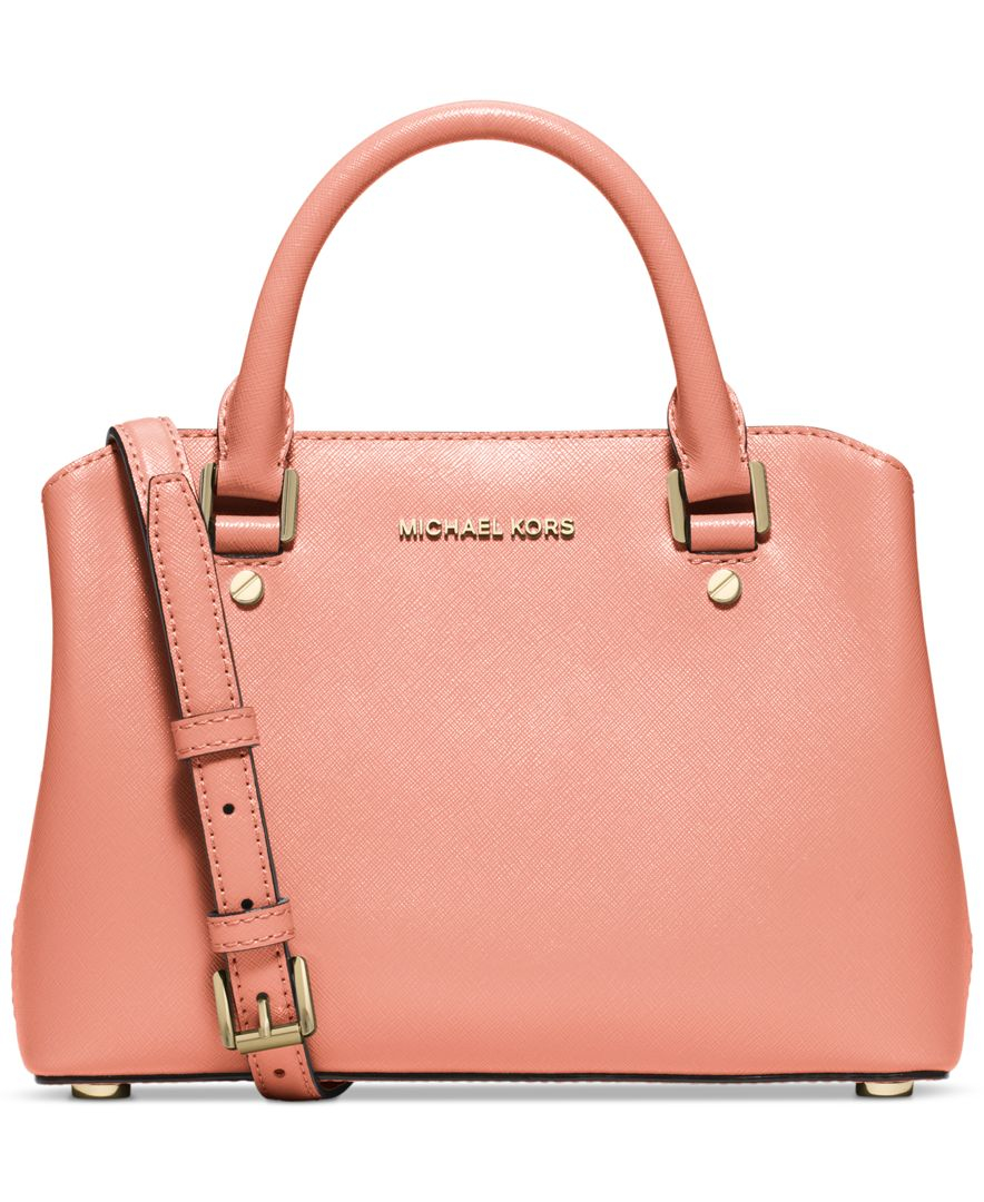 lyst michael kors michael savannah small satchel in pink. Black Bedroom Furniture Sets. Home Design Ideas