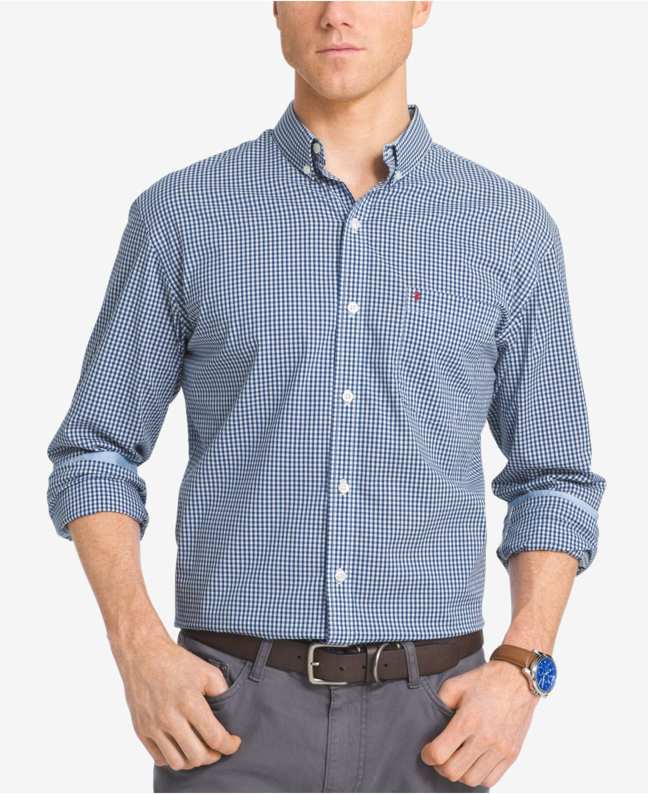 Izod Men 39 S Big And Tall Gingham Long Sleeve Shirt In Blue