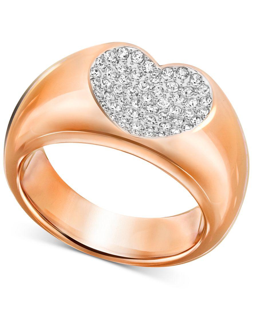 swarovski rose gold tone crystal pave heart ring in pink lyst. Black Bedroom Furniture Sets. Home Design Ideas