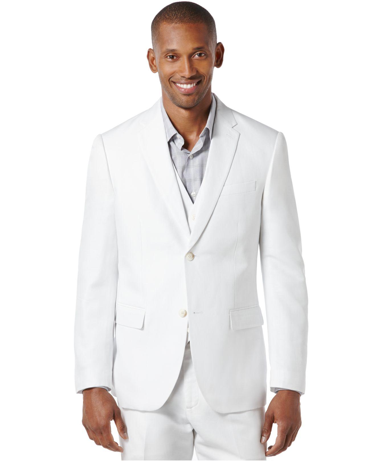 Perry Ellis Linen Suit Jacket In White For Men Lyst