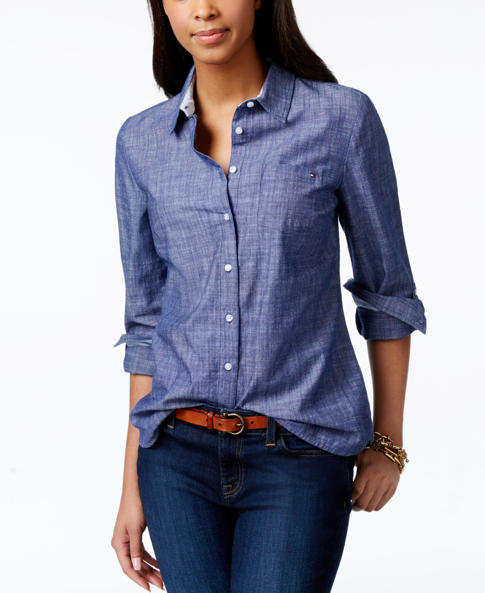 Tommy hilfiger roll tab chambray shirt only at macy 39 s in for Blue chambray shirt women s