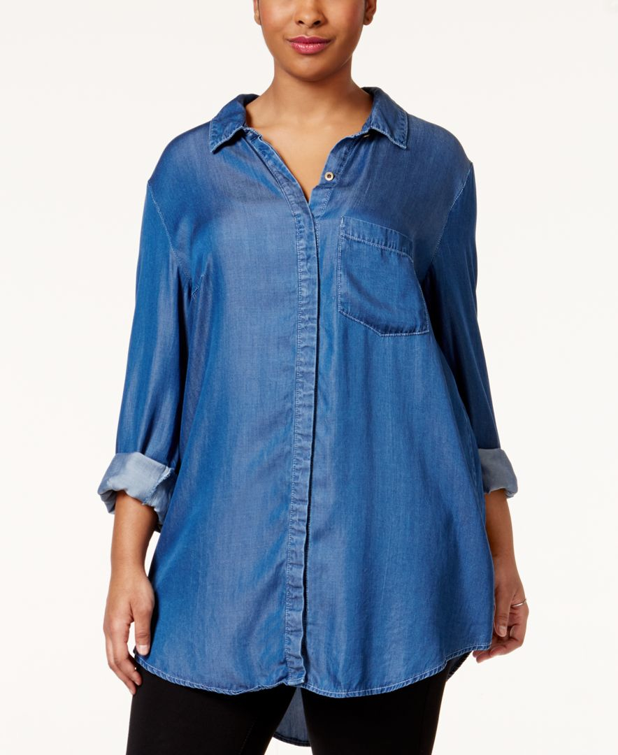 Rachel Rachel Roy Curvy Plus Size Chambray Shirt In Blue