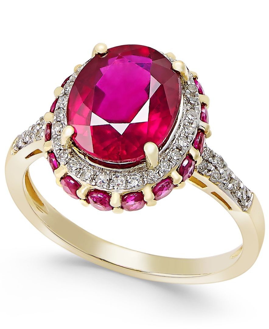 Macy s Ruby 4 Ct T w And White Sapphire 1 3 Ct T w Oval Ring In 1