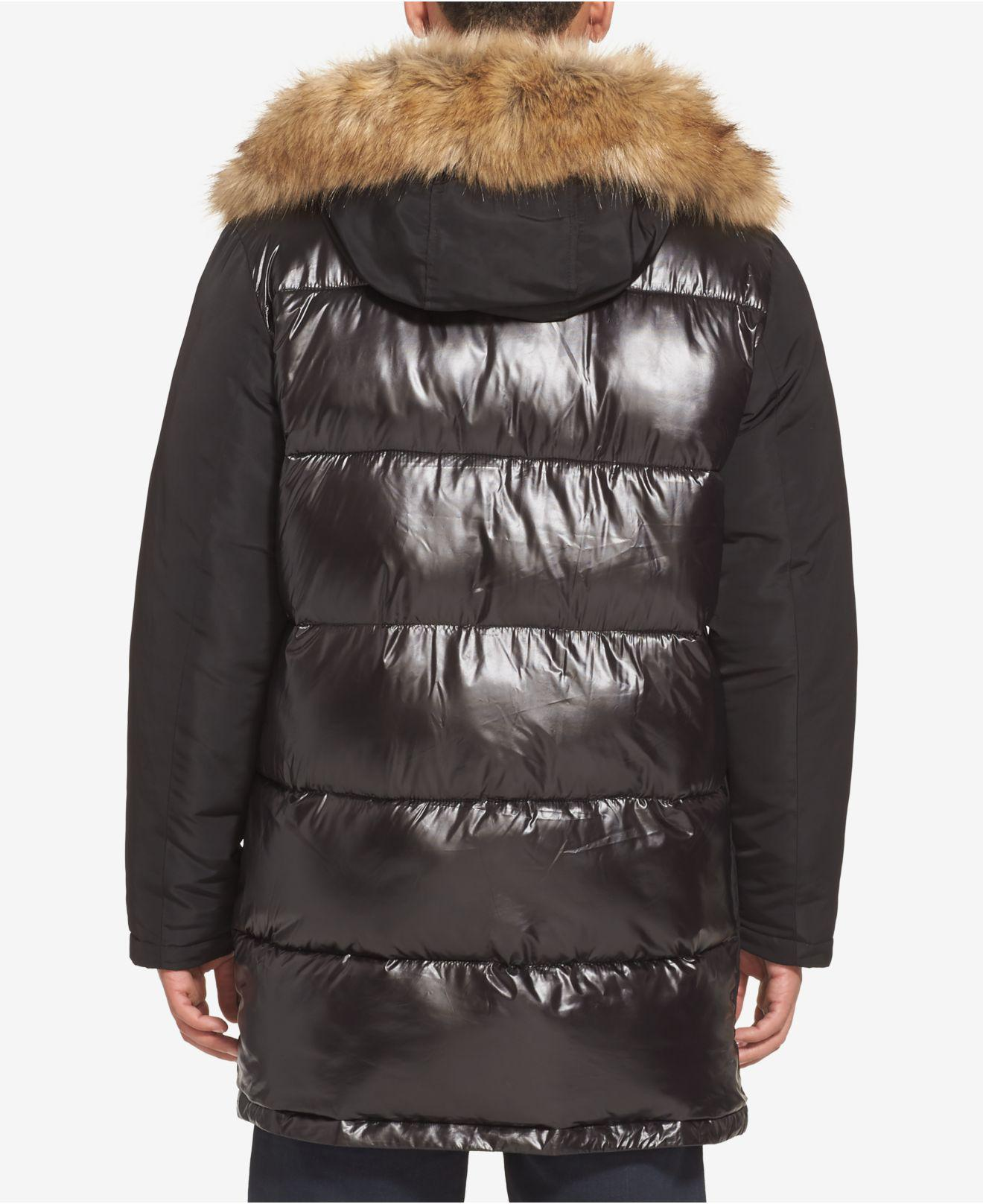 246ee0e90a87 Lyst - Sean John Hooded Parka With Faux-fur Trim in Black for Men