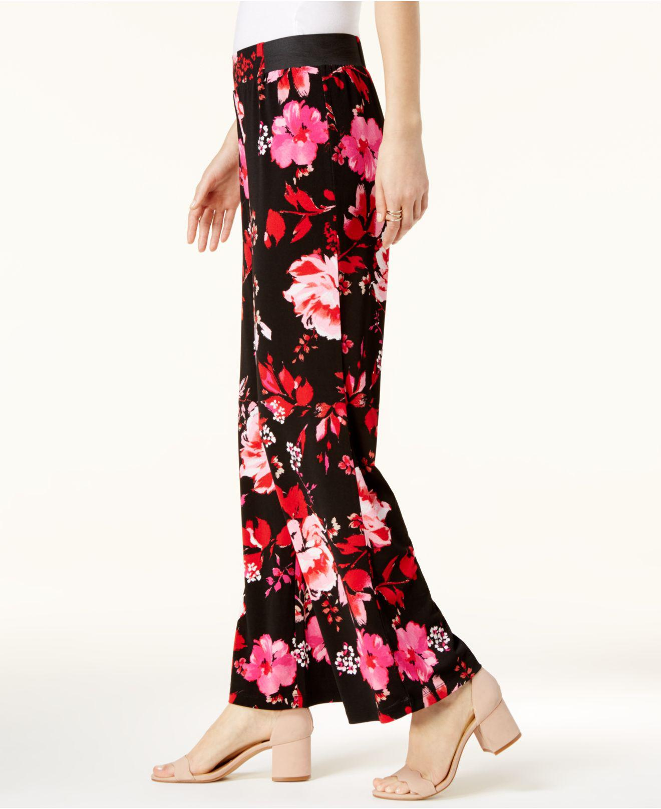 4209b95b1d5 Lyst - INC International Concepts Floral-print Wide-leg Pants in Red