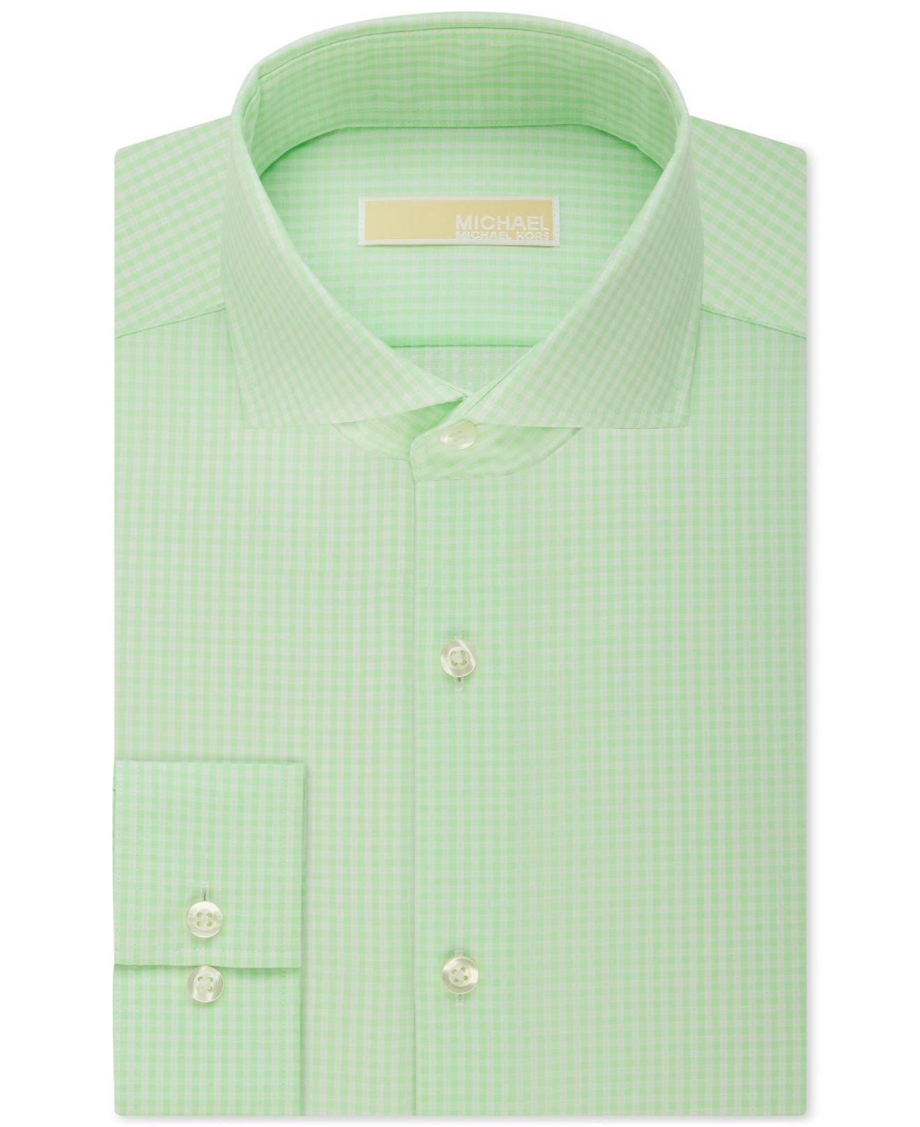 Michael kors michael men 39 s slim fit non iron luna green for Non iron slim fit dress shirts