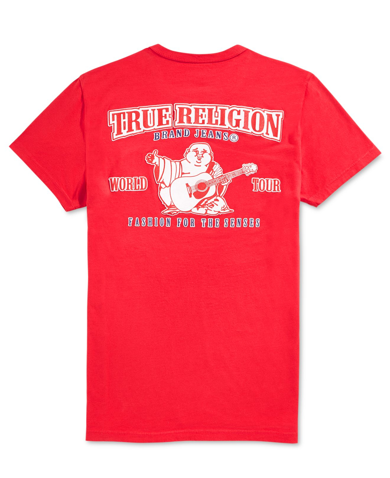 true religion double puff graphic tshirt in red for men
