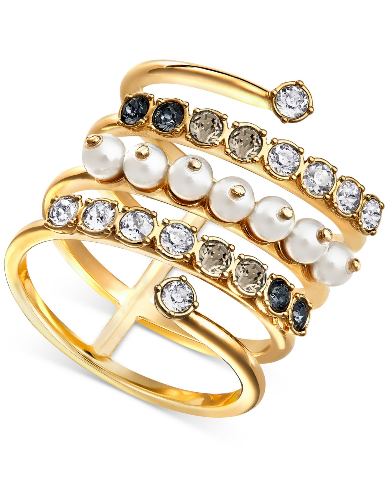swarovski 22k gold plated imitation pearl and coil