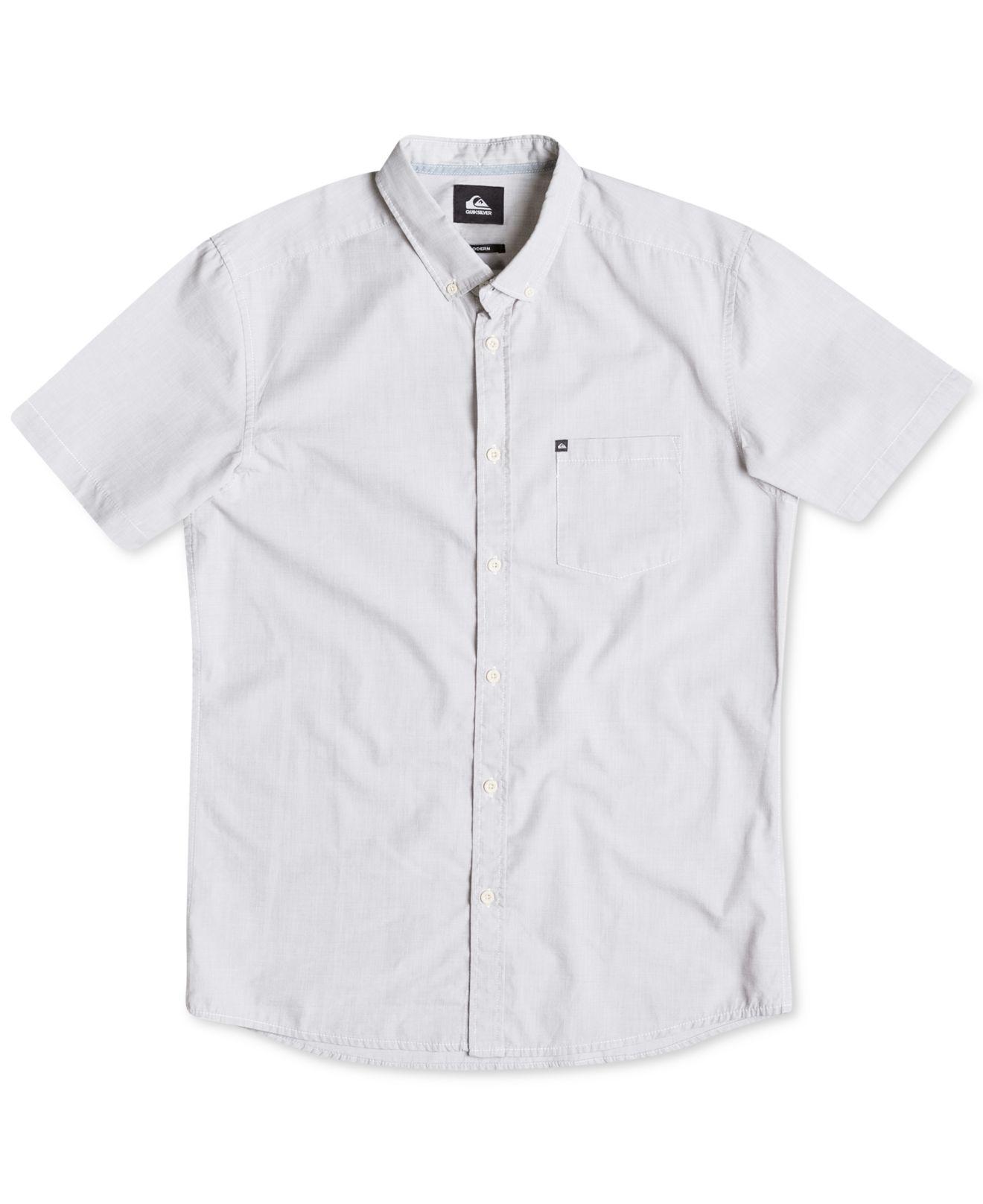 Quiksilver men 39 s chambray button down short sleeve shirt for Mens grey button down dress shirt