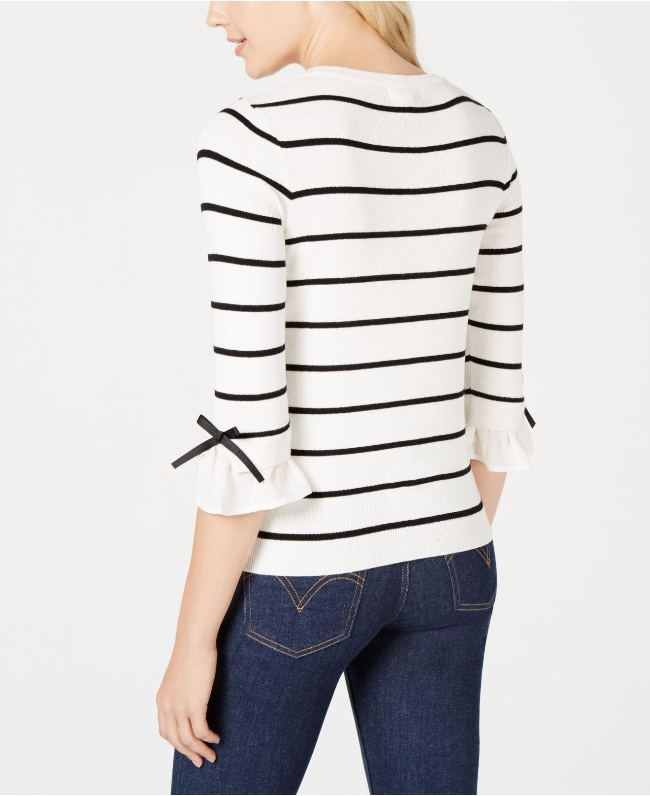 9cda1cd70d Lyst - Maison Jules Striped Bow-trim Sweater