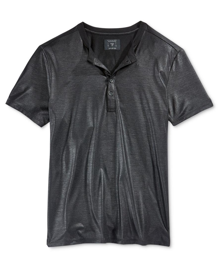 Guess men 39 s short sleeve mason shine henley shirt in black for Mason s men s shirts