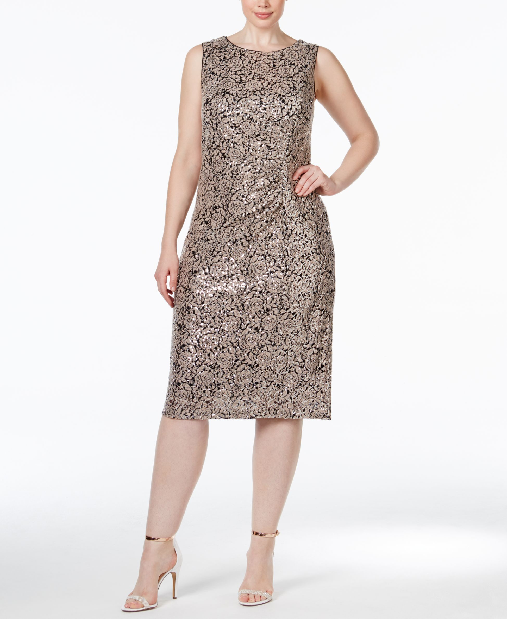 Calvin Klein Plus Size Lace Ruched Sheath Dress In Brown
