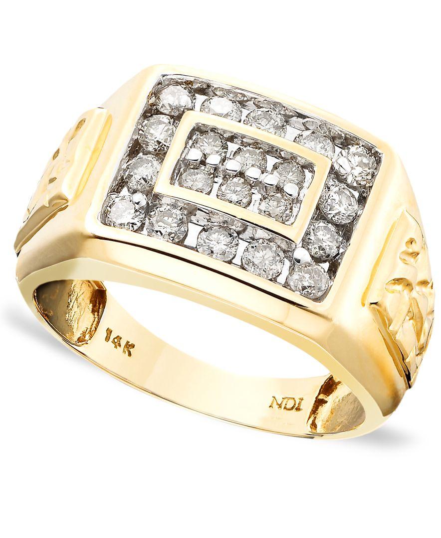 Macy's Men's 14k Gold Ring, Diamond (1 Ct. T.w.) In