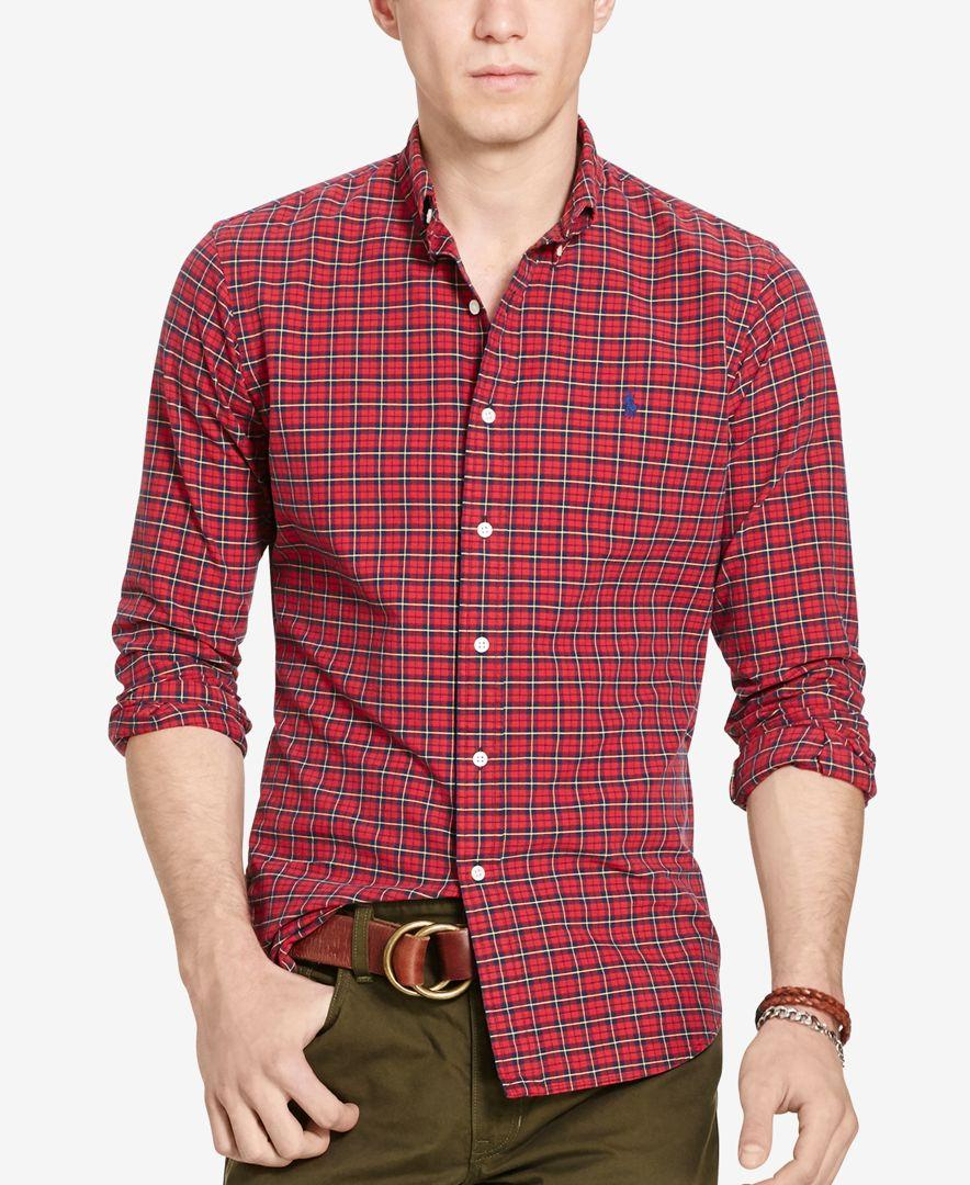 9fad2363a Lyst - Polo Ralph Lauren Men s Plaid Oxford Sport Shirt in Red for Men