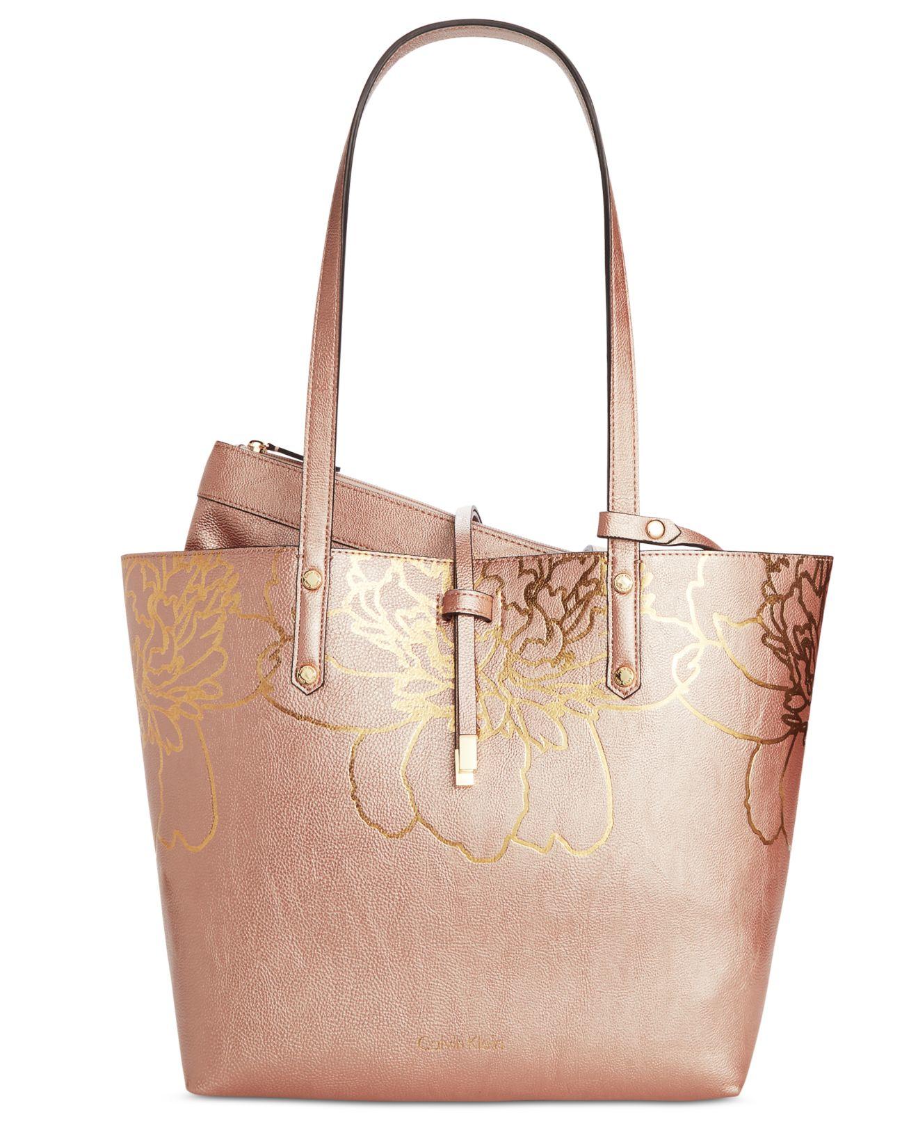 calvin klein bag in bag floral appliqu medium tote in pink rosegold combo save 26 lyst. Black Bedroom Furniture Sets. Home Design Ideas