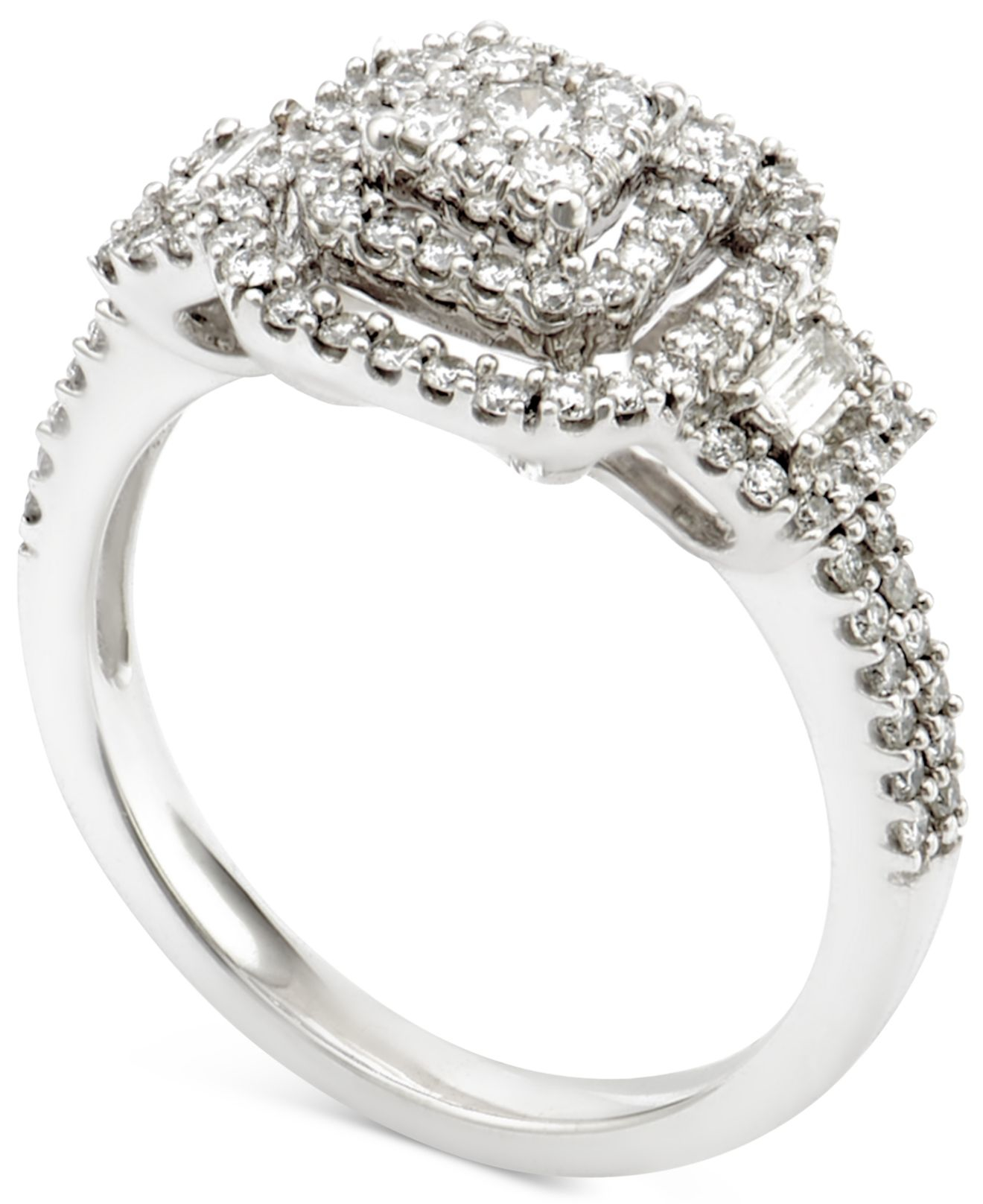 Macy s Diamond Engagement Ring 3 4 Ct T w In 14k White Gold in White