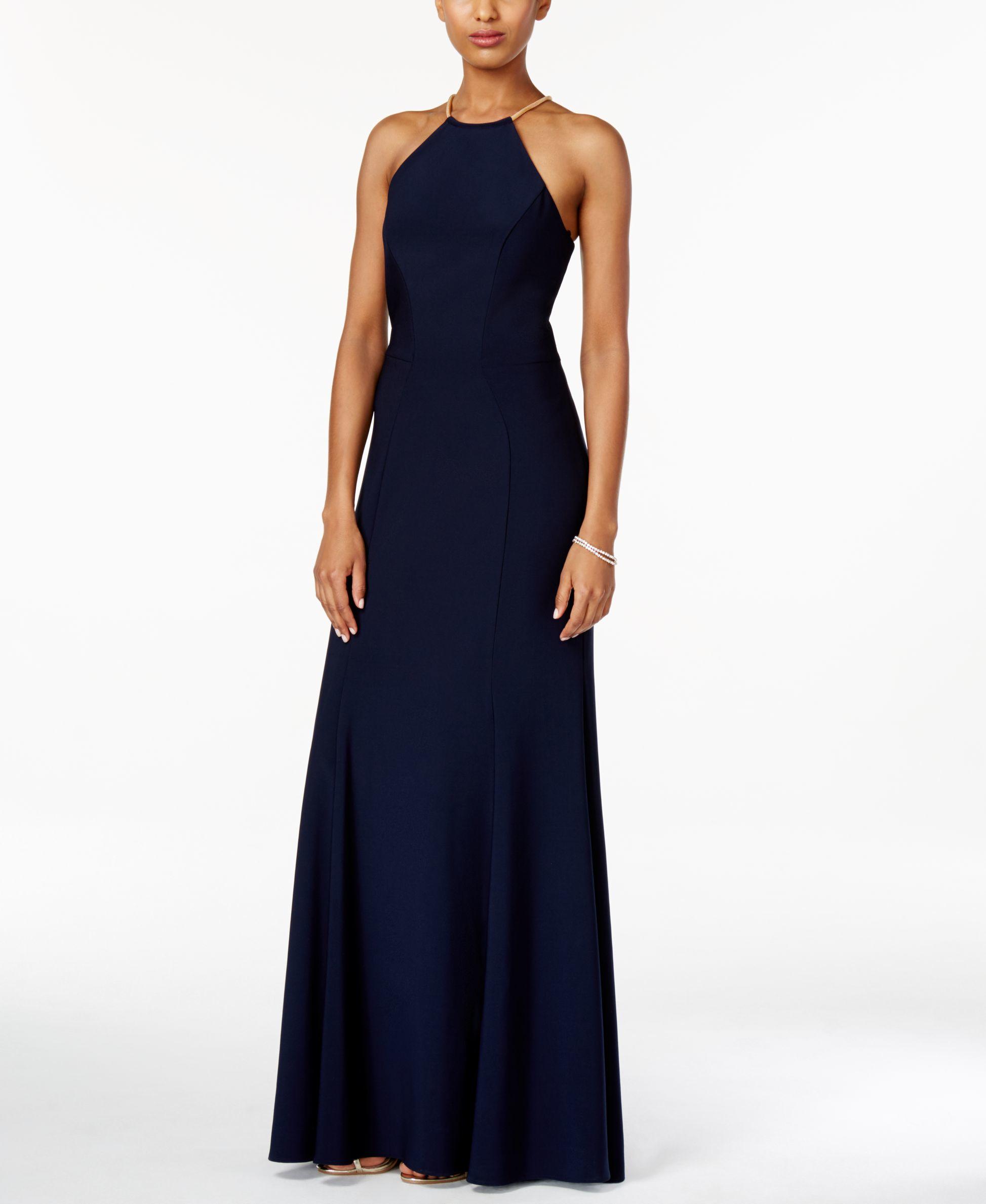 Macys Navy Blue Dresses: Xscape Embellished Halter Gown In Blue