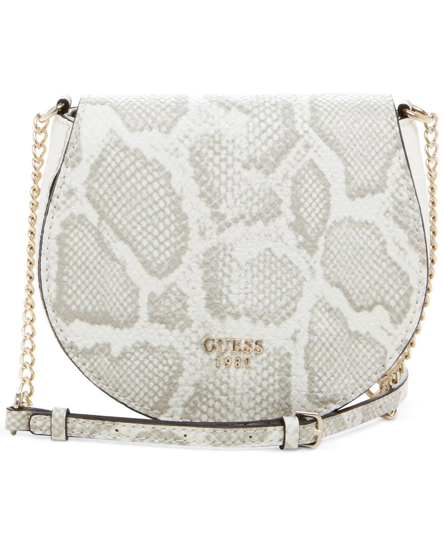 Lyst Guess Cate Mini Saddle Crossbody Bag In Gray