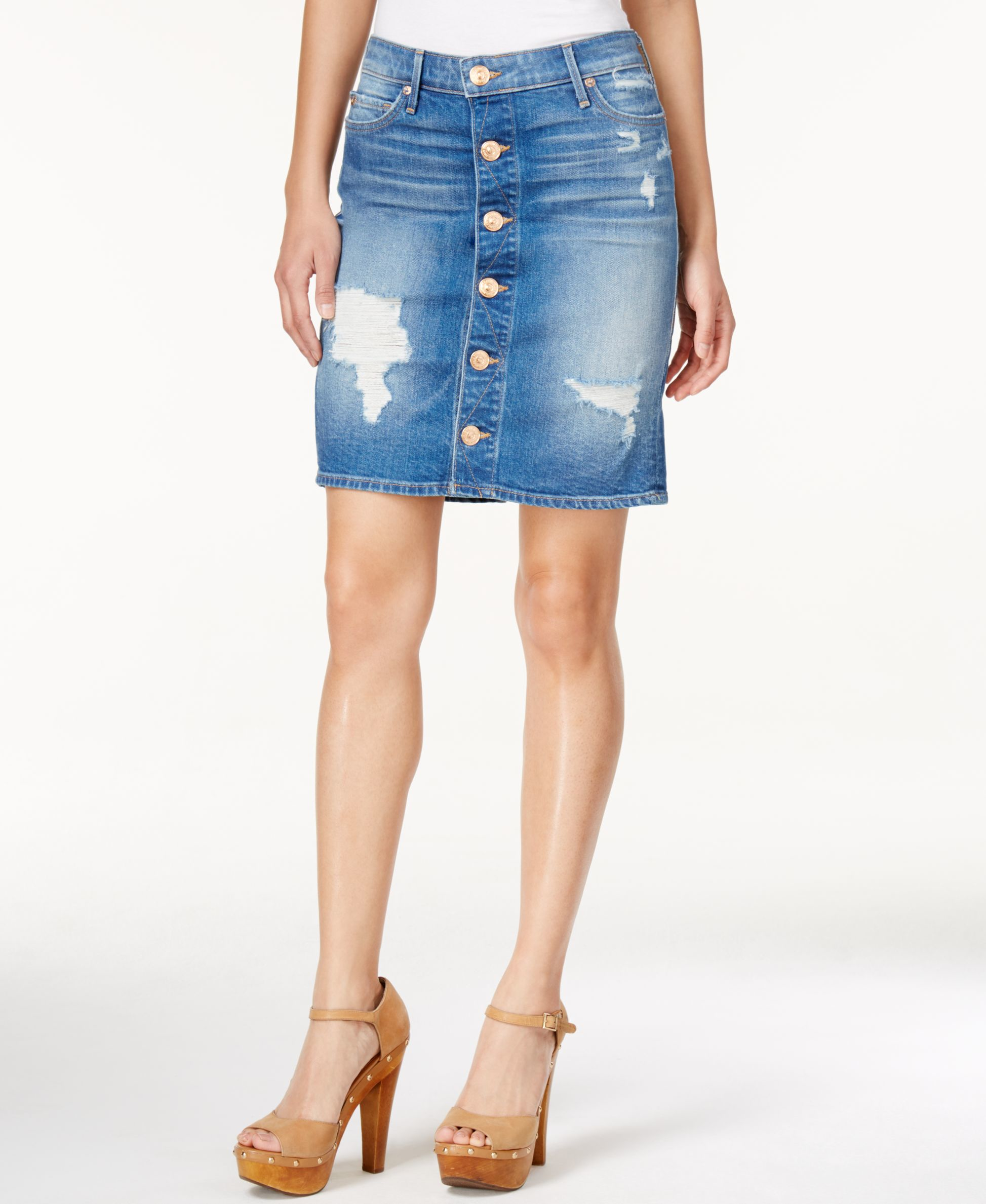 true religion button up ripped denim skirt in blue lyst