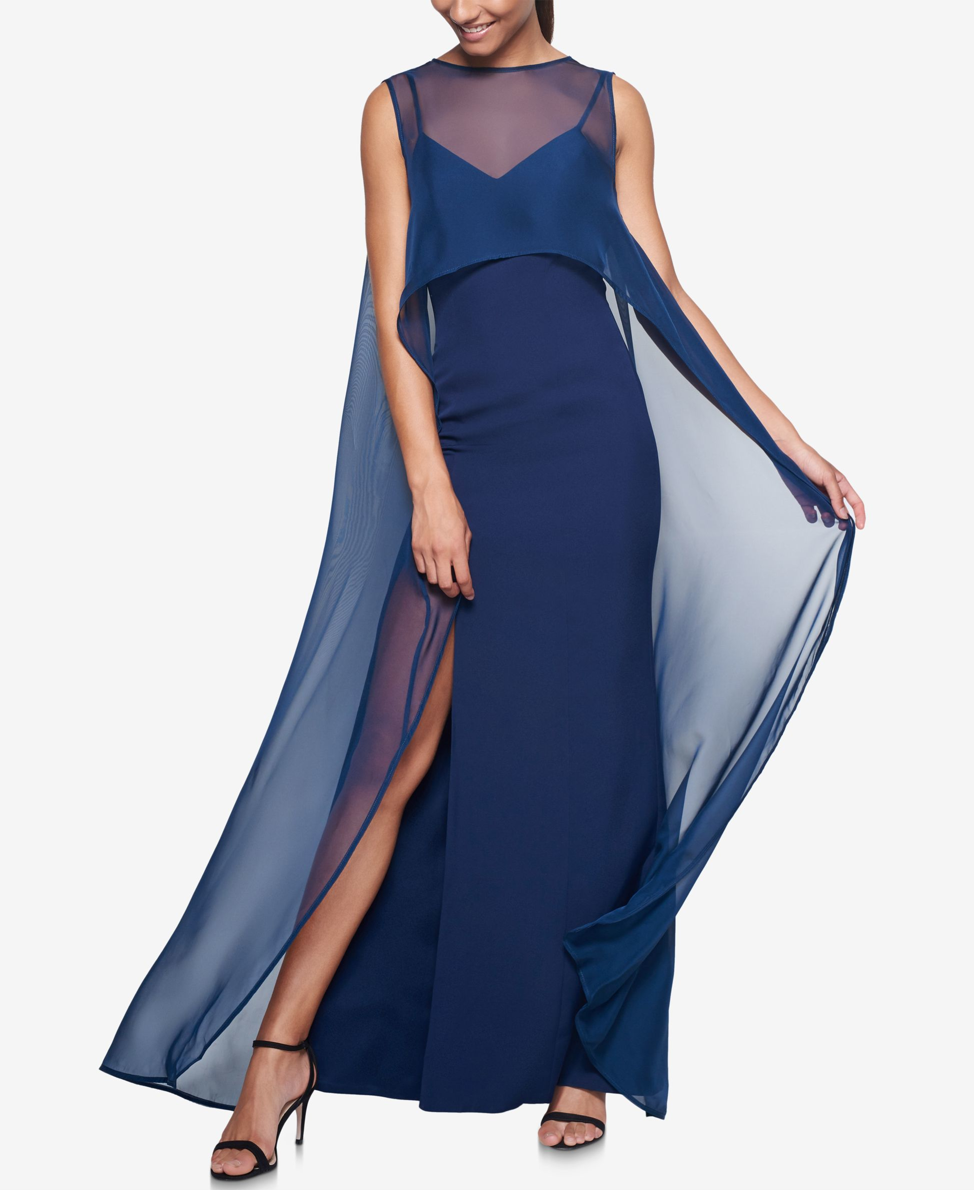 Lyst - Fame & Partners Chiffon Overlay Cape Dress in Blue
