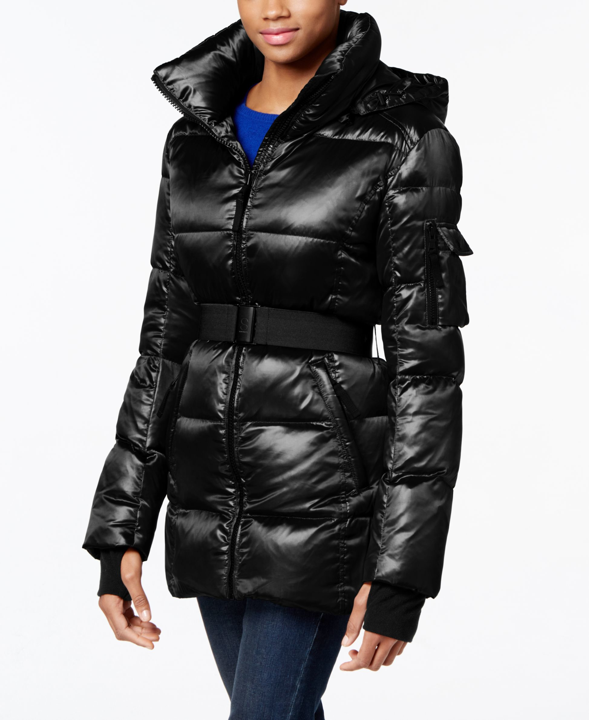 S13 Nyc Belted Shimmer Down Puffer Coat In Black Lyst