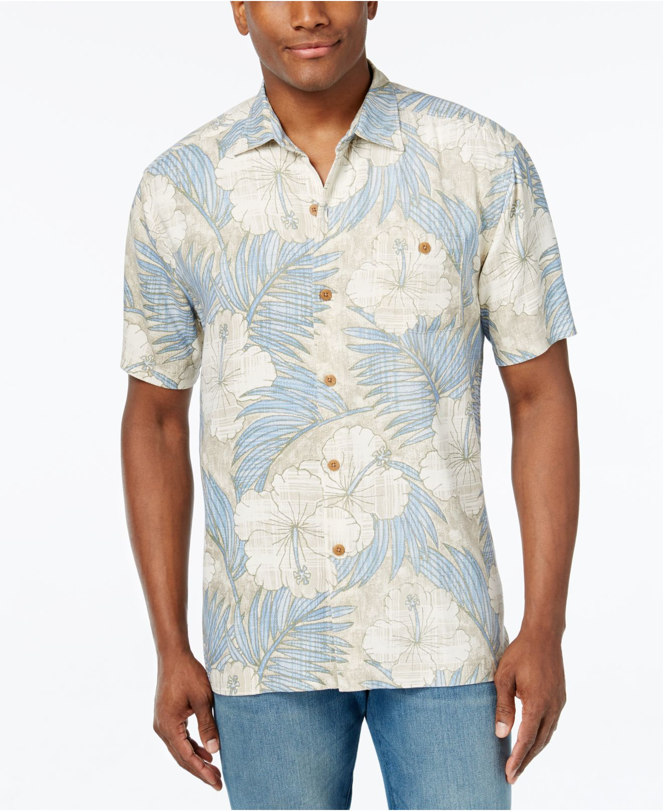 Tommy bahama men 39 s printed hibiscus shirt for men lyst for Custom tommy bahama shirts