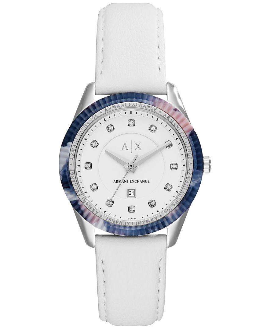 Armani exchange A|x Women's White Leather Strap Watch 36mm ...