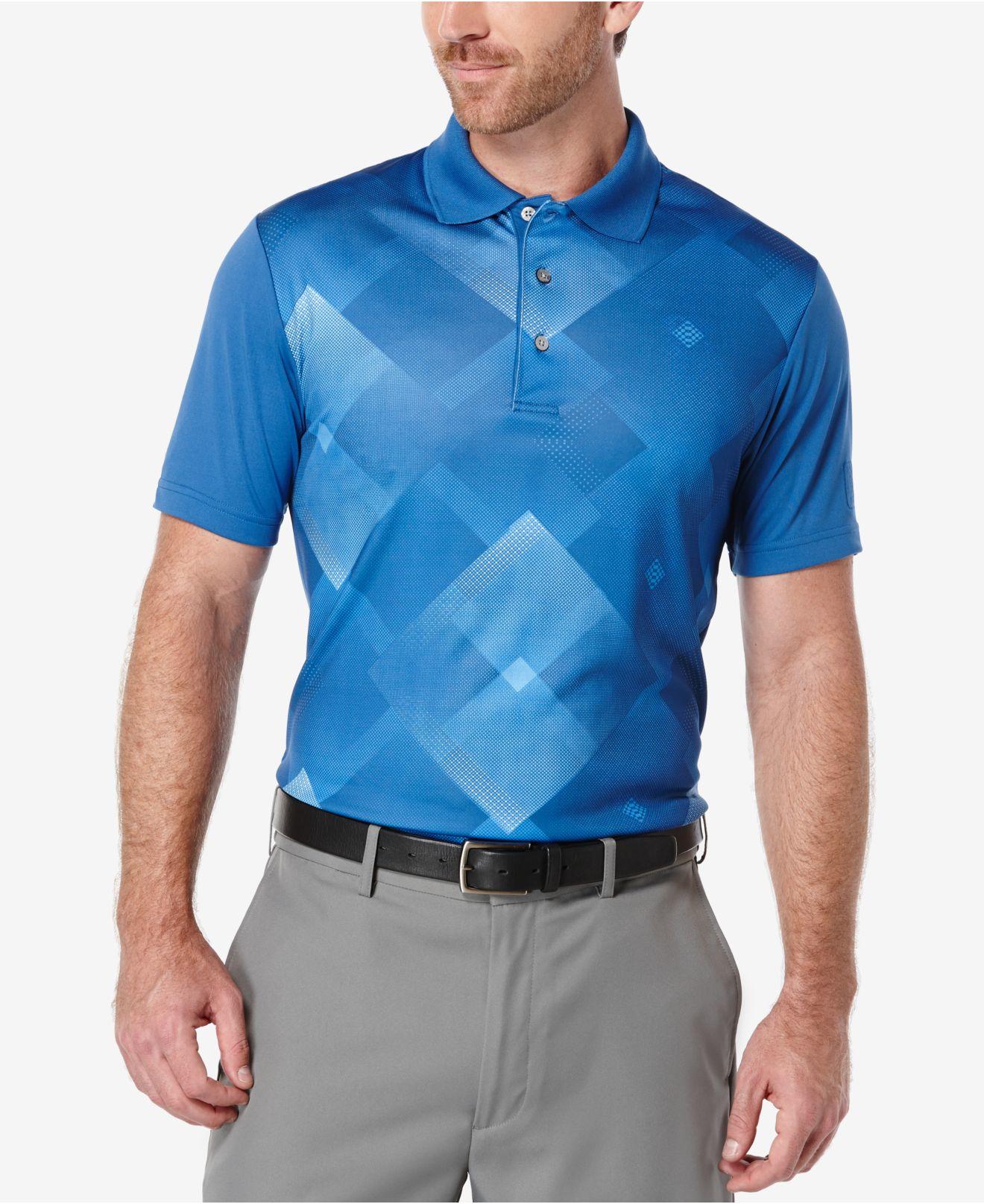 pga tour men u0026 39 s altered argyle golf polo in blue for men
