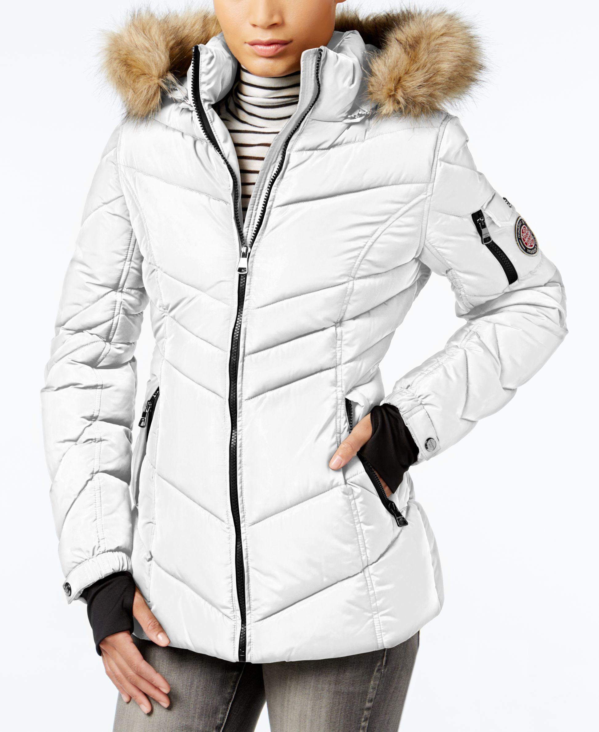 e5bcffd2383a9 Lyst - Madden Girl Faux-fur-trim Hooded Chevron Puffer Coat in White