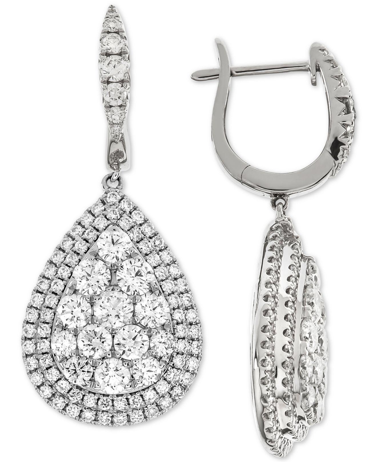 2f0eea2168d Macy s. Women s Diamond Teardrop Halo Cluster Drop Earrings (3-1 4 Ct. T.w.)  In 14k White Gold