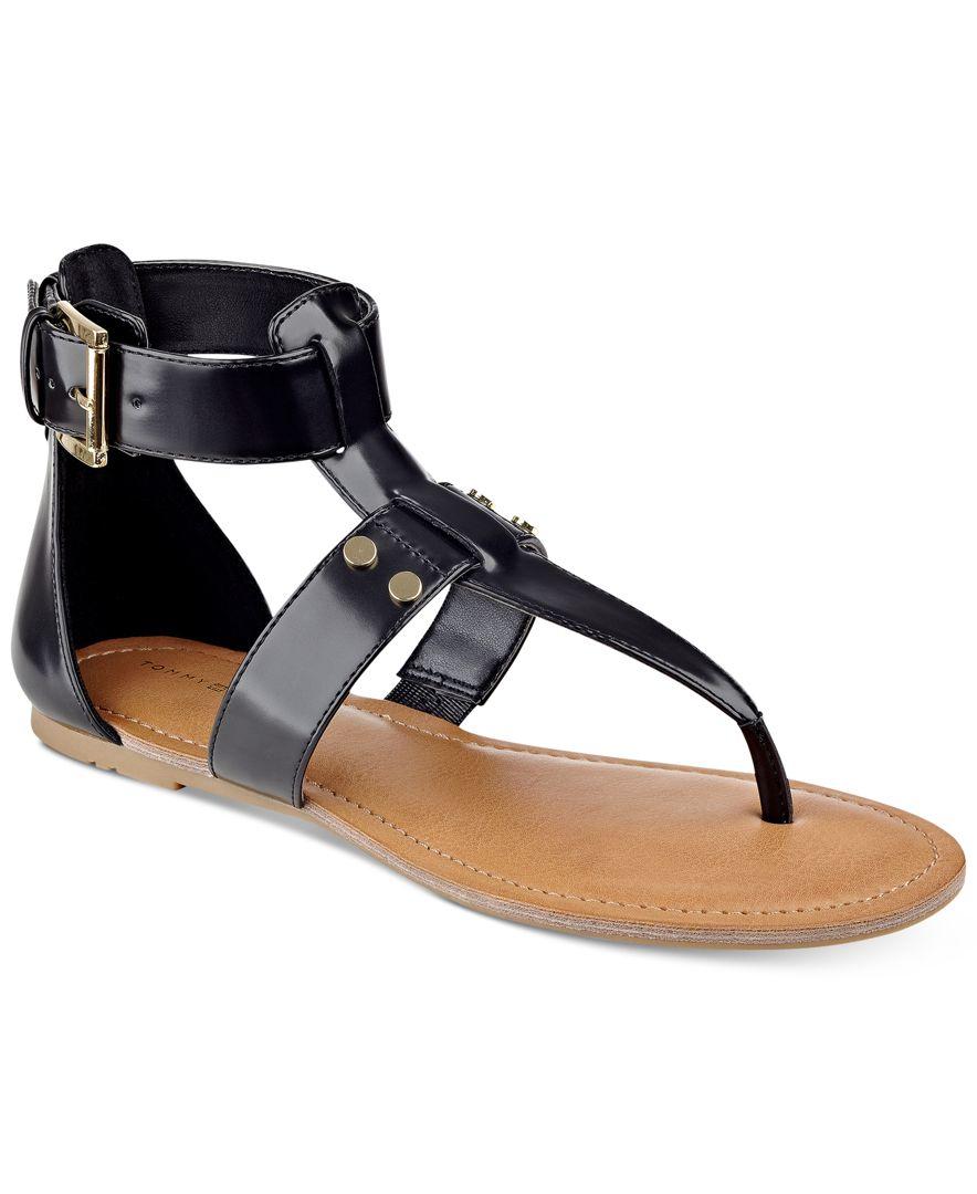 75c822d74a79 Lyst - Tommy Hilfiger Lisette Flat Thong Sandals in Black