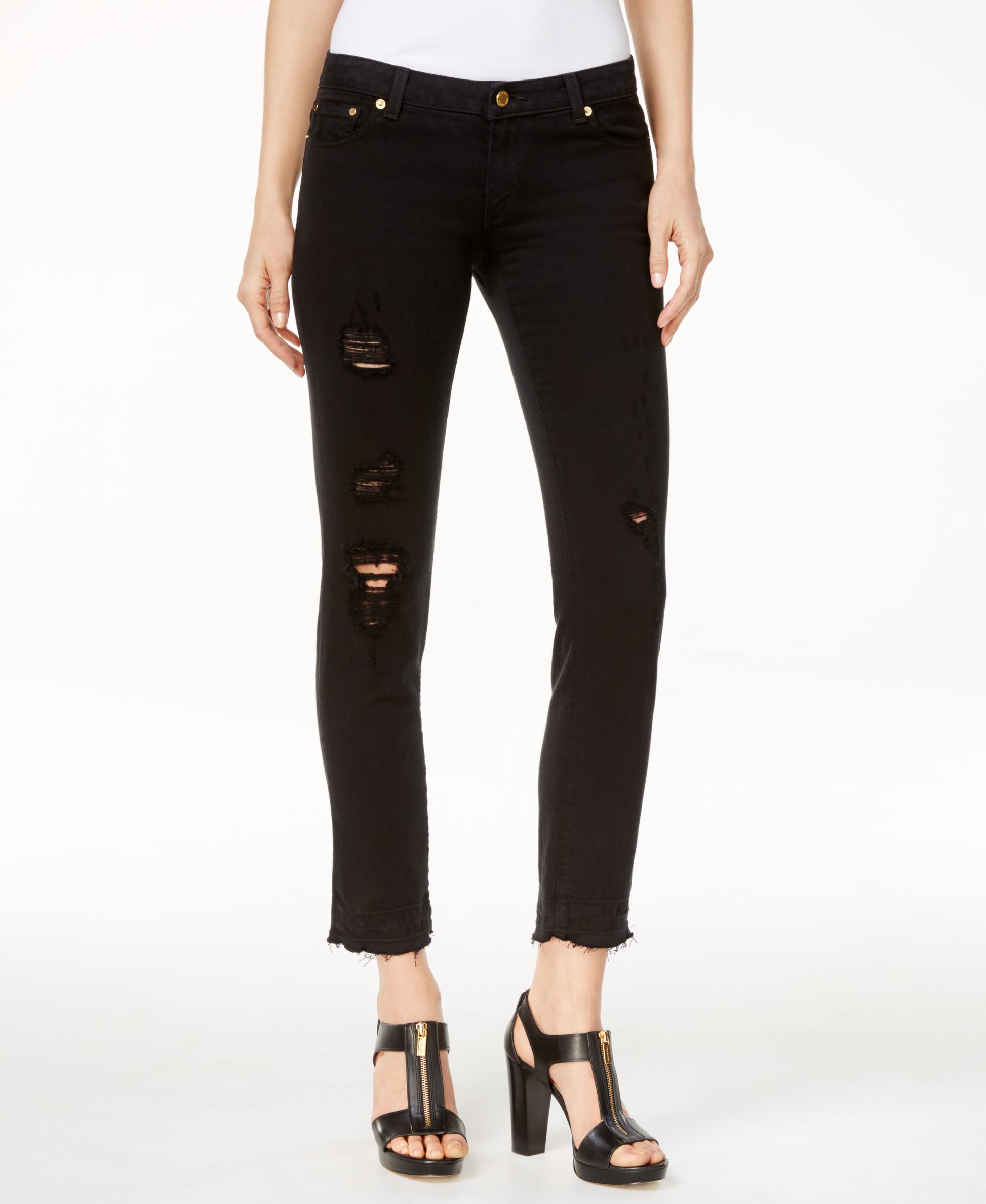 michael kors michael ripped cropped skinny jeans in black lyst. Black Bedroom Furniture Sets. Home Design Ideas