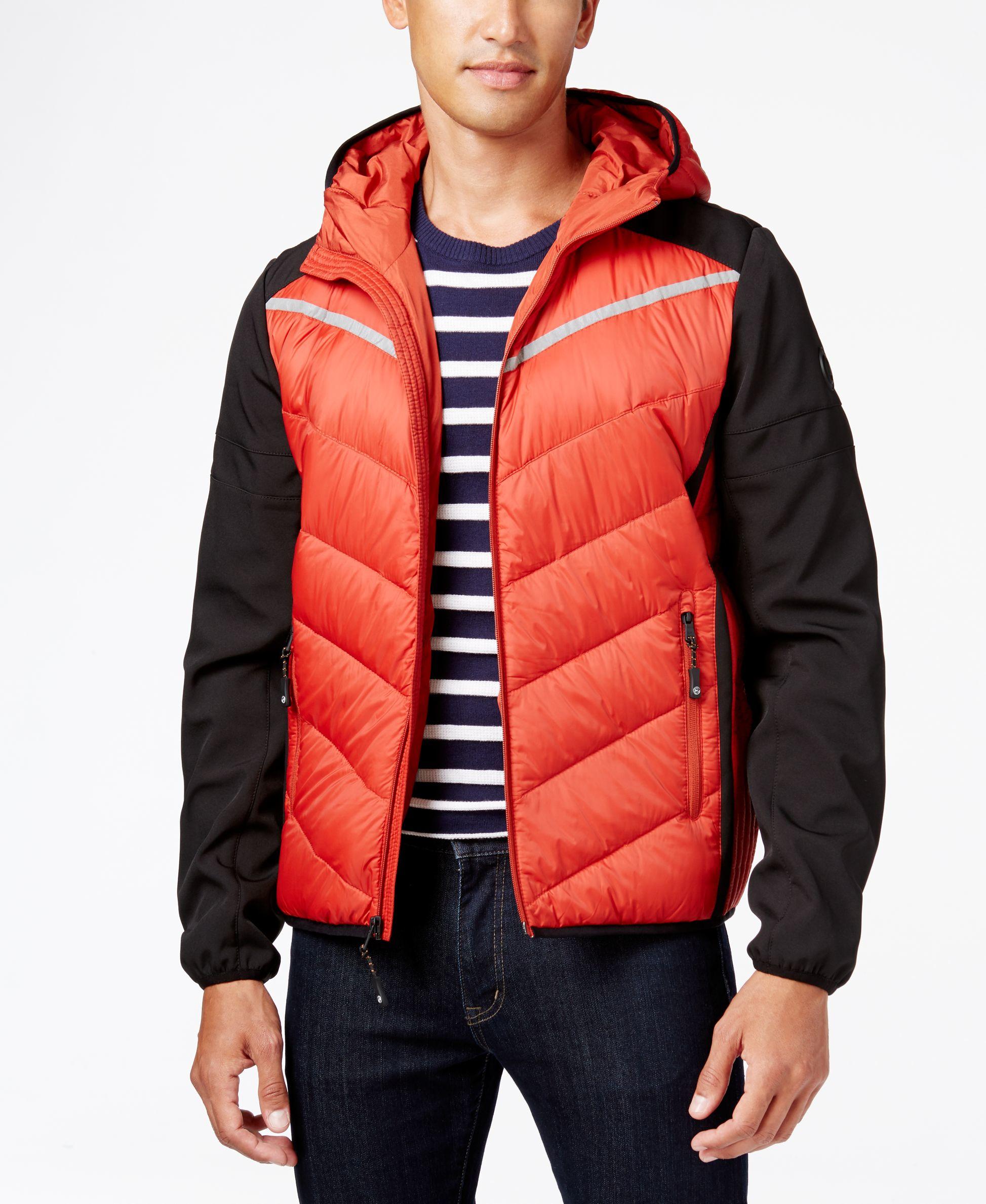 21e722c6c03b Lyst - Michael Kors Michael Men s Hooded Contrast Down Coat in Red ...