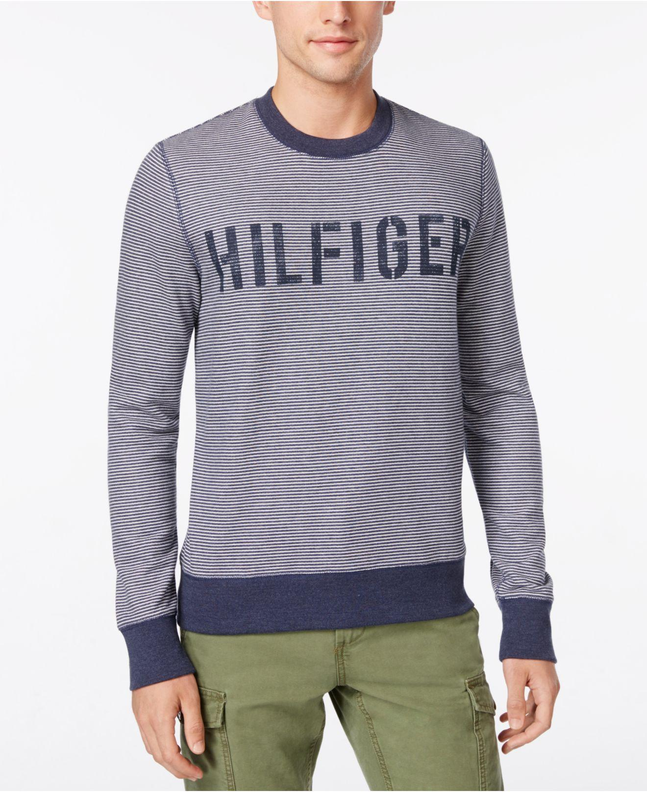lyst tommy hilfiger men 39 s hampton stripe logo sweater in. Black Bedroom Furniture Sets. Home Design Ideas