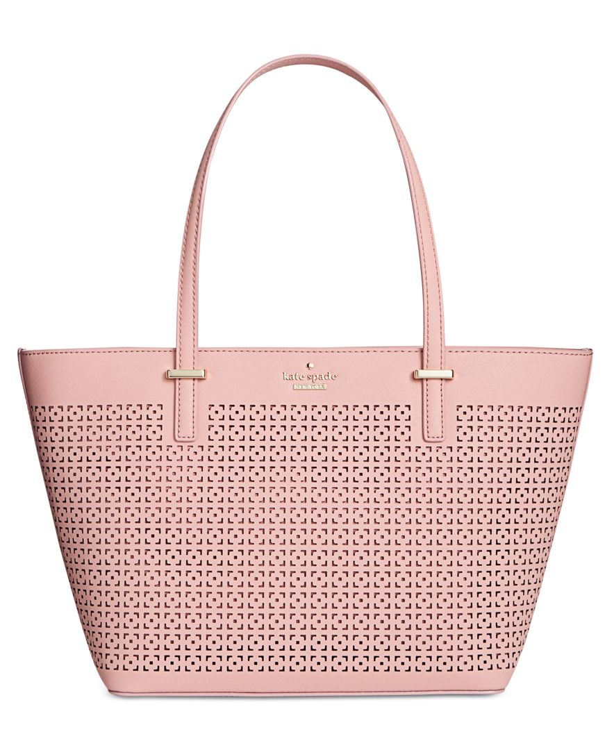 cb6fc821 Kate Spade Cedar Street Perforated Mini Harmony Shopper in Pink - Lyst