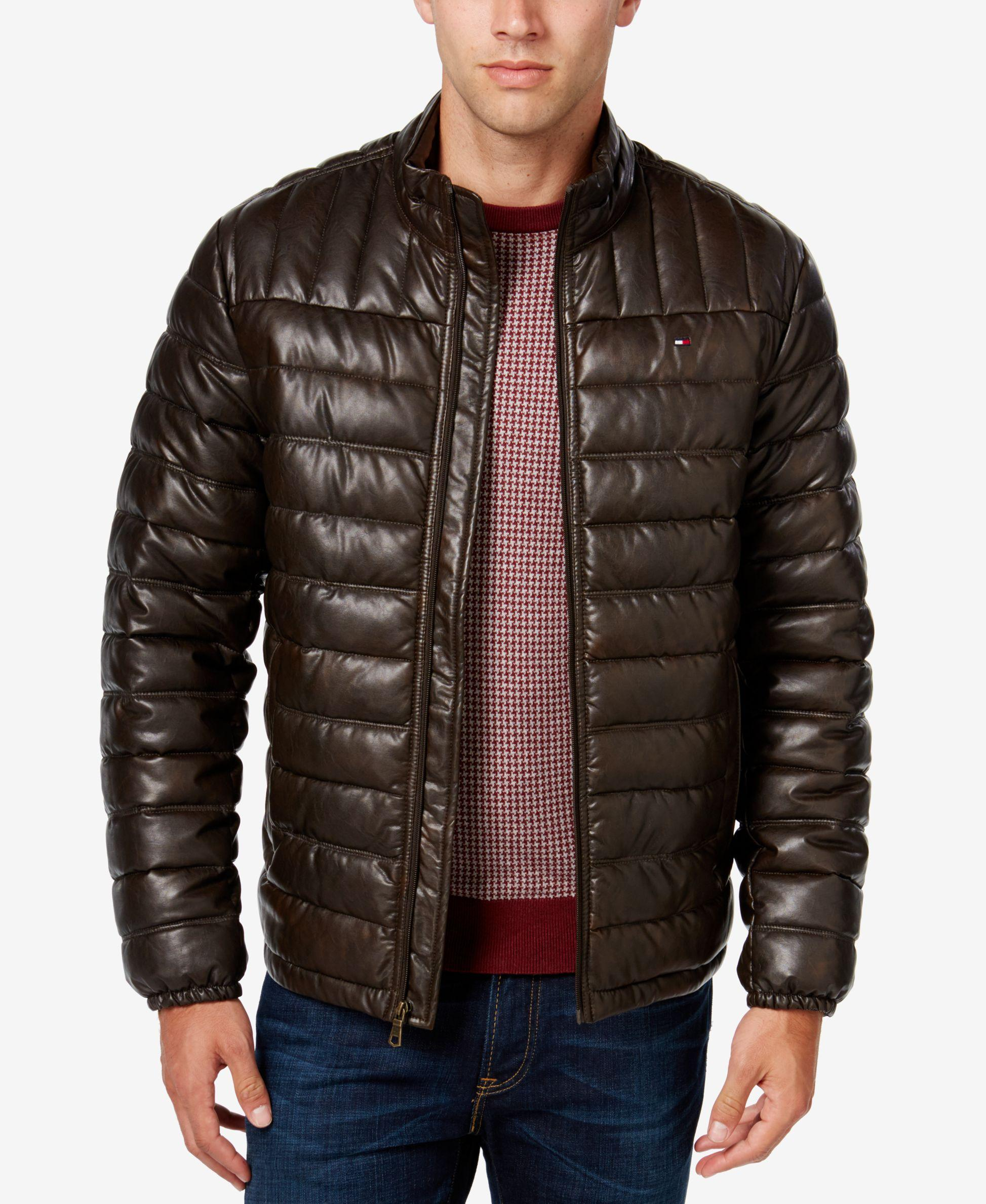 Tommy Hilfiger Men S Big Amp Tall Faux Leather Puffer Jacket