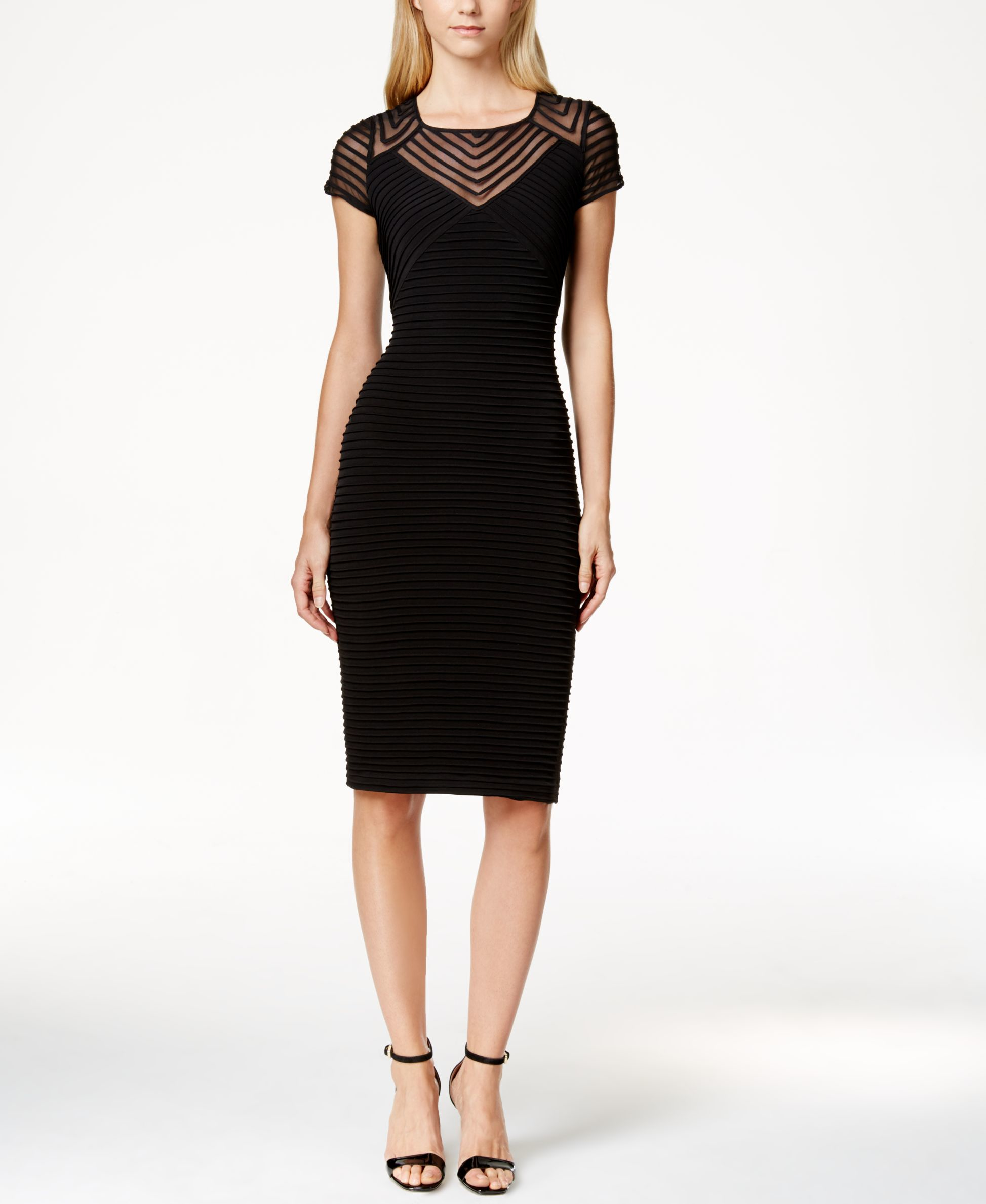 Calvin Klein Cap Sleeve Banded Sheath Dress In Black Lyst