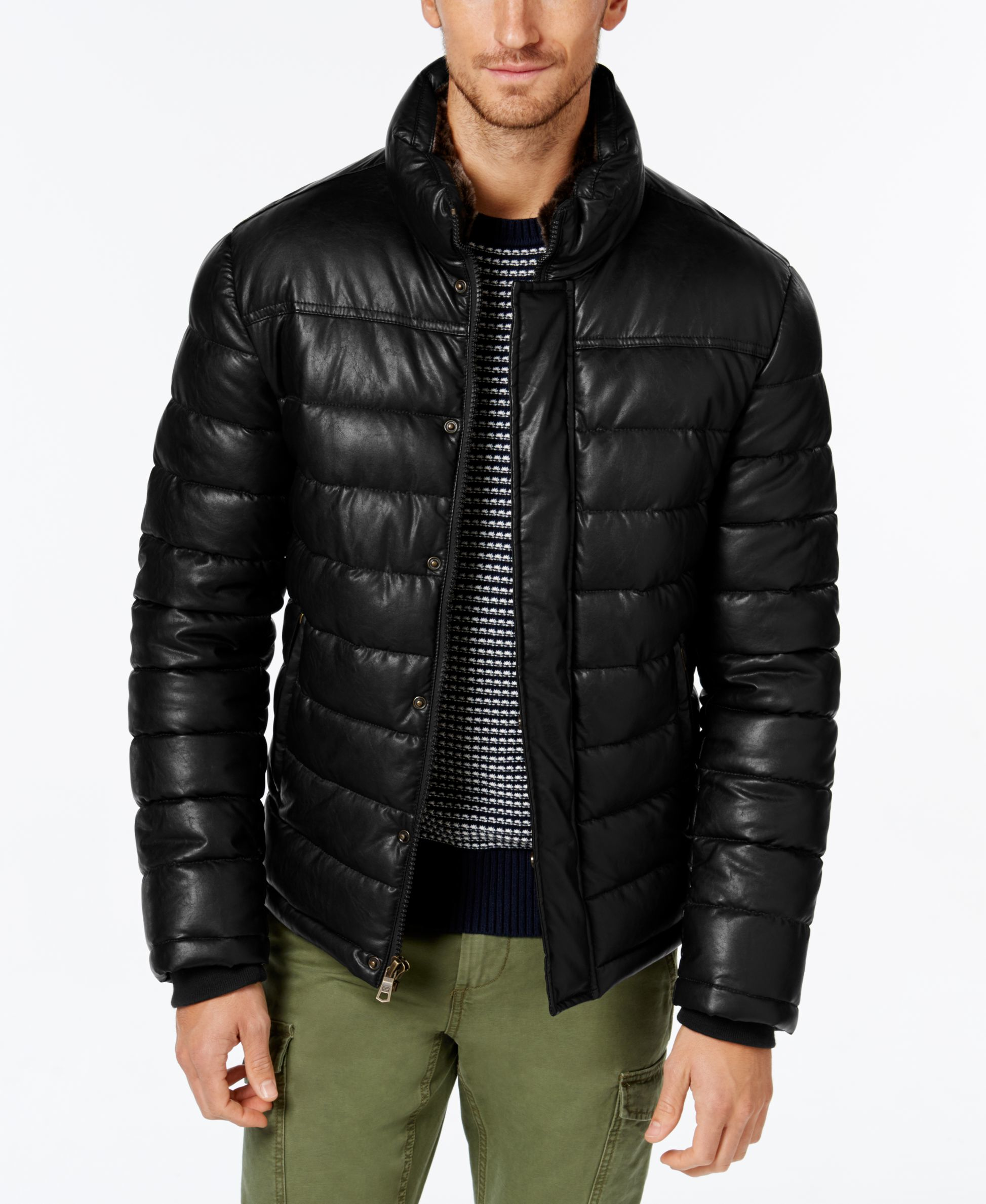 Tommy Hilfiger Men S Faux Leather Puffer Jacket In Black