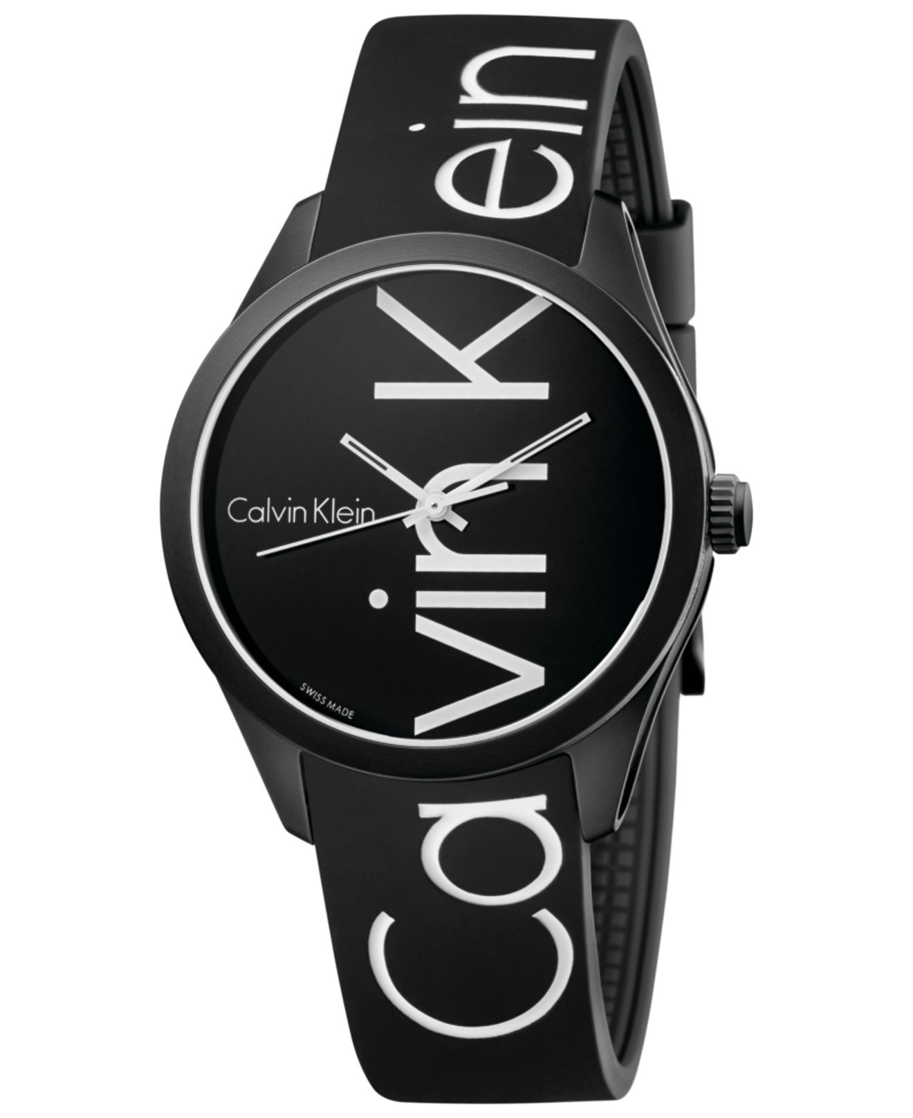 Calvin Klein Men S Color Black Silicone Strap Watch 40mm