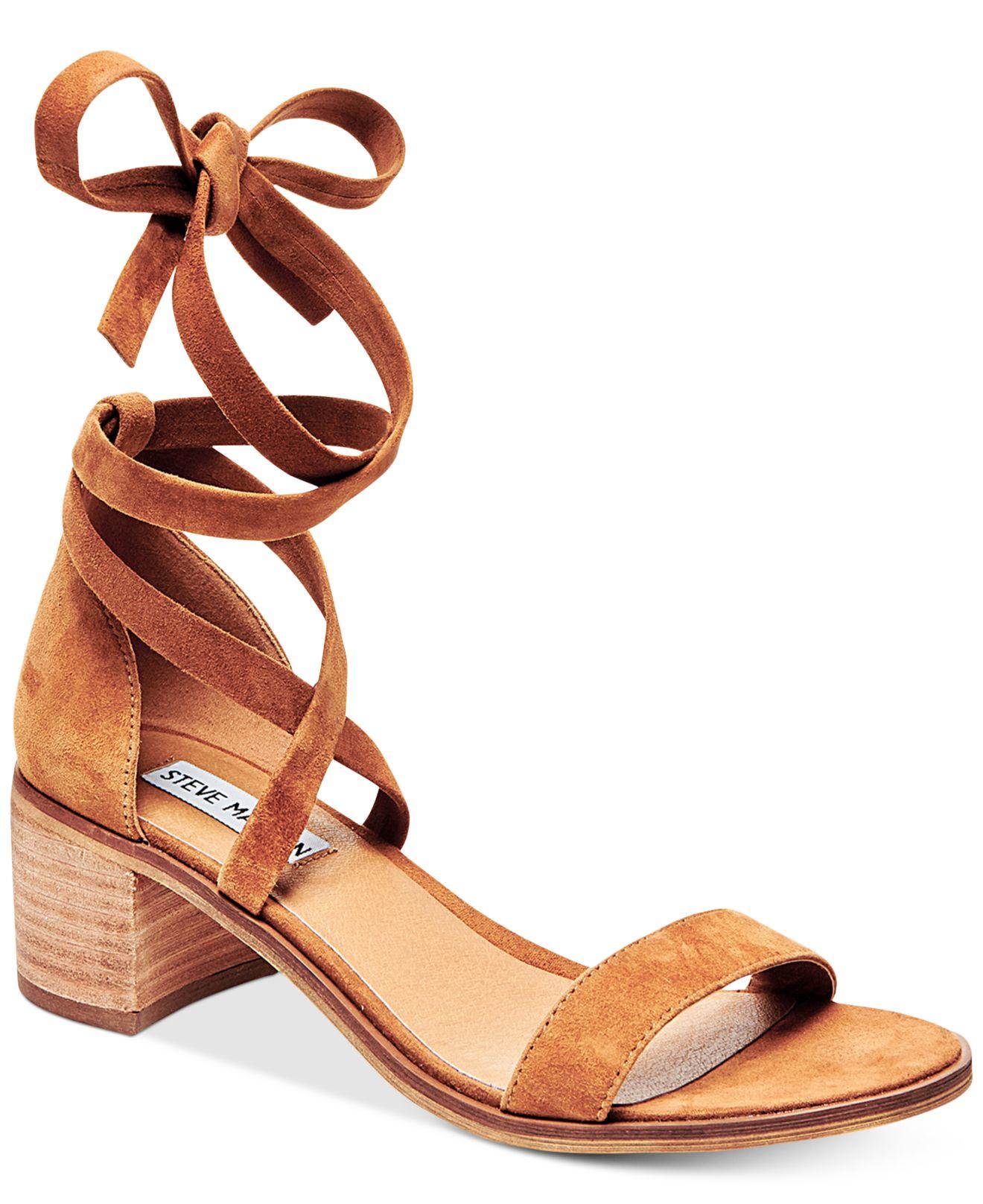 d56d8601c47 Lyst - Steve Madden Women s Rizza Lace-up Block-heel Sandals