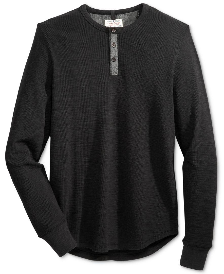 Lucky brand men 39 s thermal henley shirt in black for men lyst for Mens black thermal t shirts