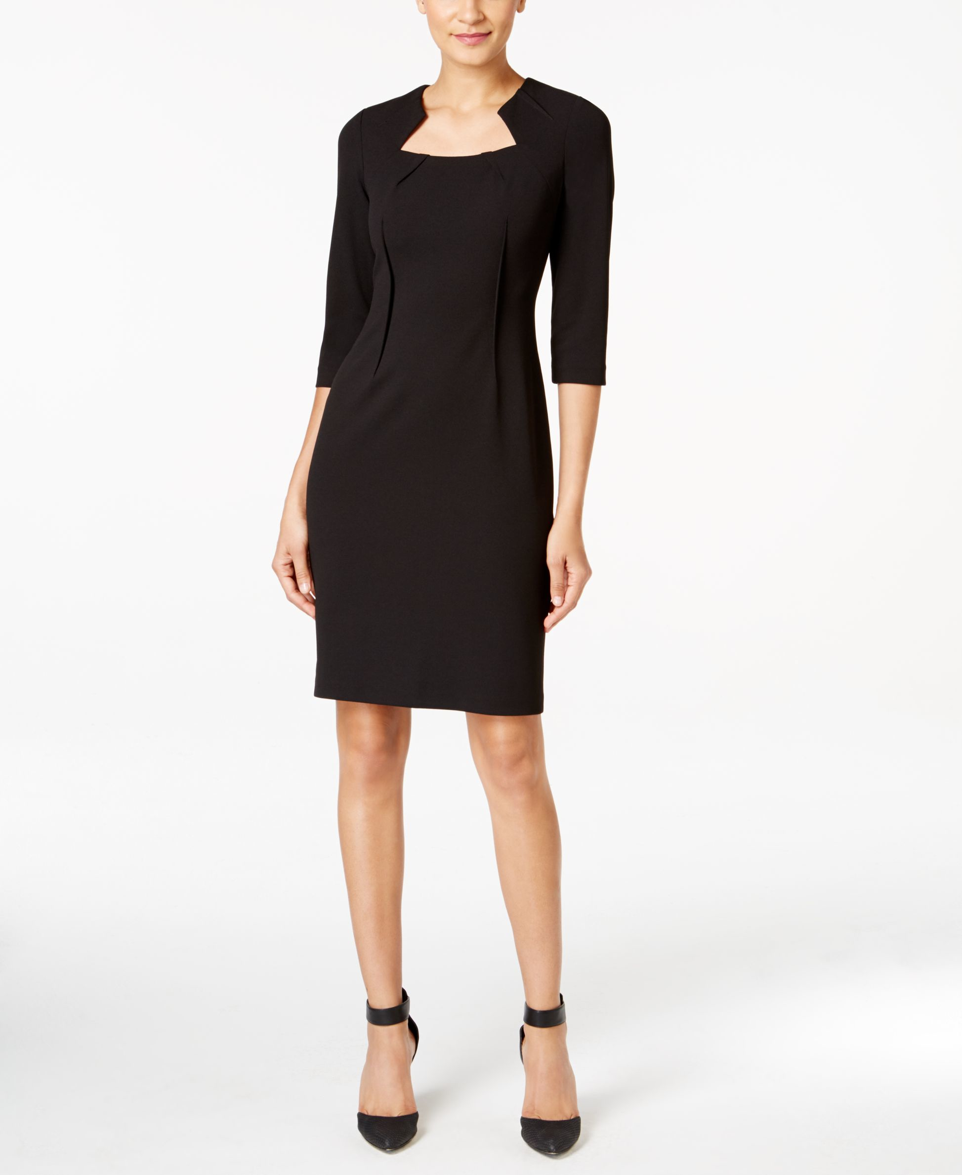 Calvin Klein Petite Notched Scuba Sheath Dress In Black | Lyst