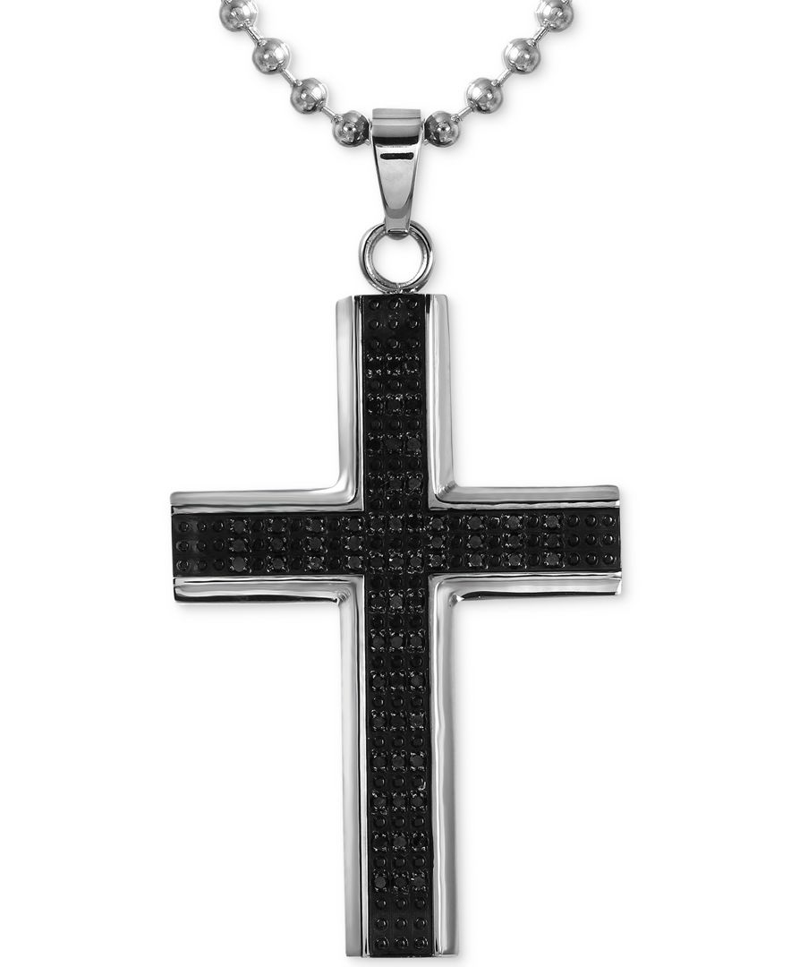 macys mens diamond cross pendant necklace 12 ct tw
