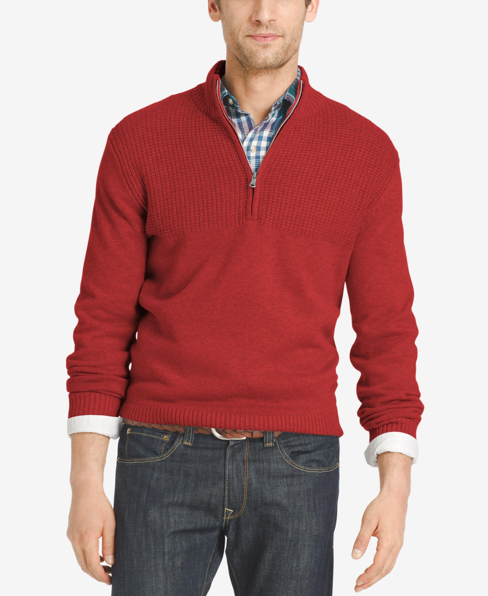 Izod Men's Dual-texture Quarter-zip Sweater in Red for Men | Lyst