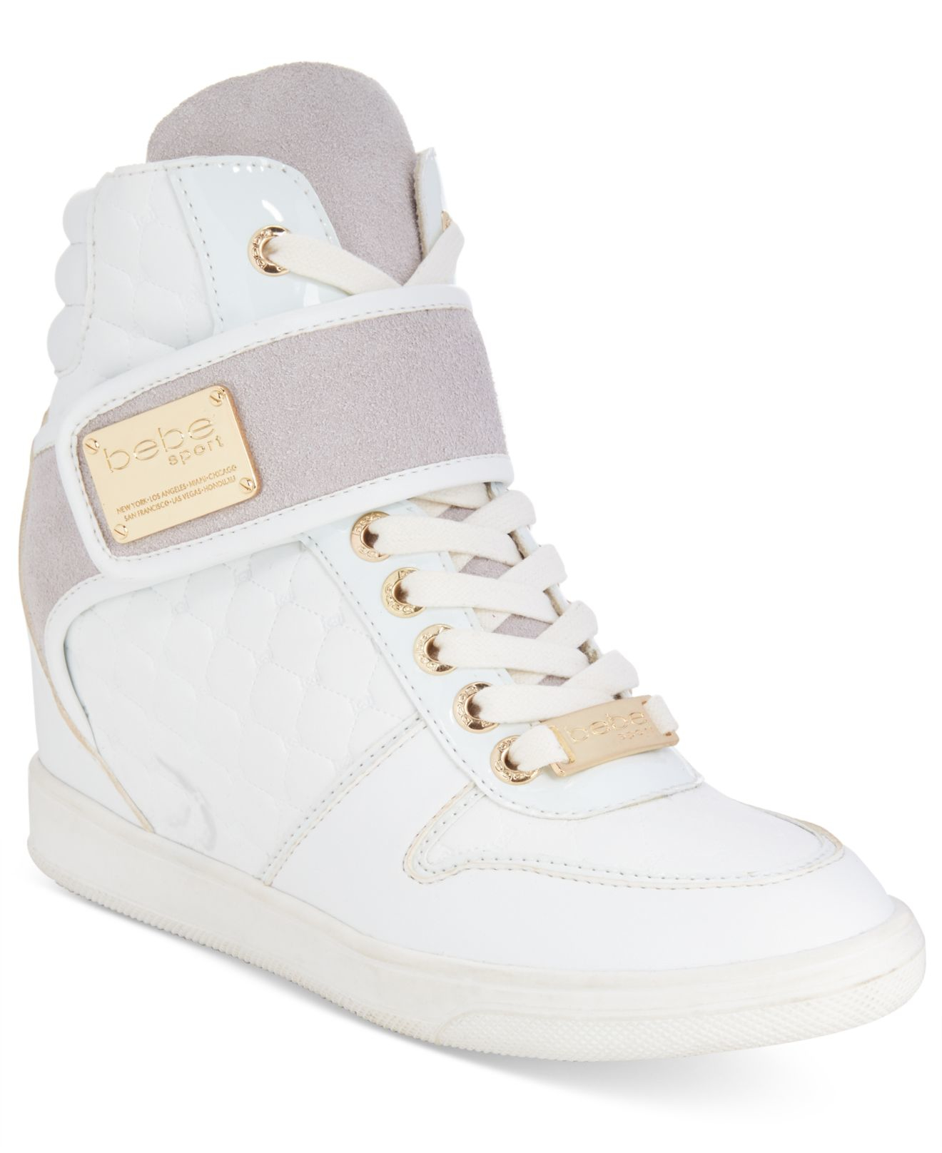 c1e8ce85ed9 Lyst - Bebe Sport Colby Wedge Sneakers in White