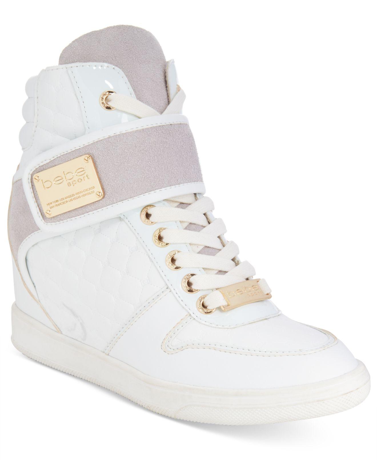 d3d6fc50171 Lyst - Bebe Sport Colby Wedge Sneakers in White