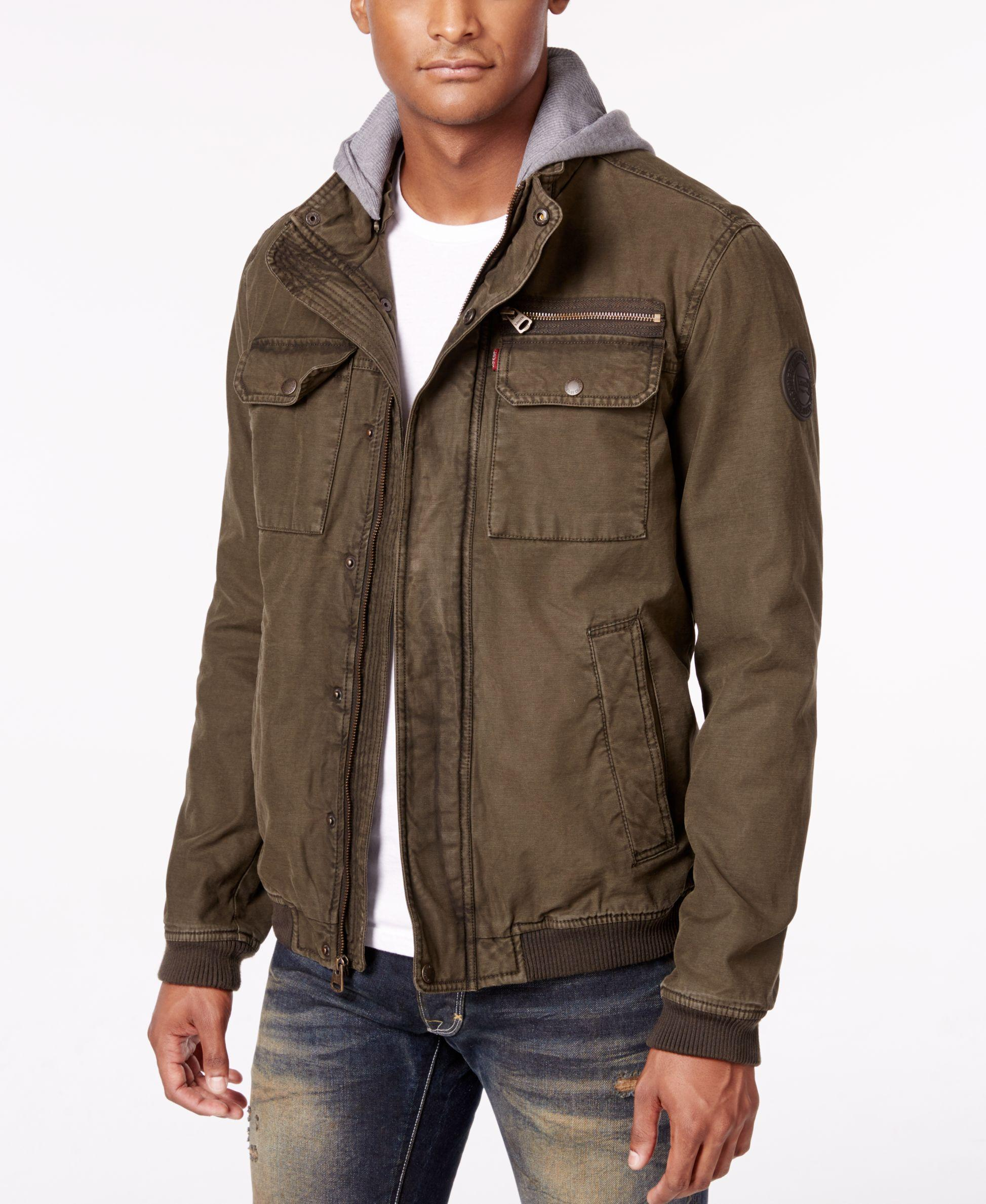Levi S Men S Twill Hooded Bomber Jacket In Multicolor For